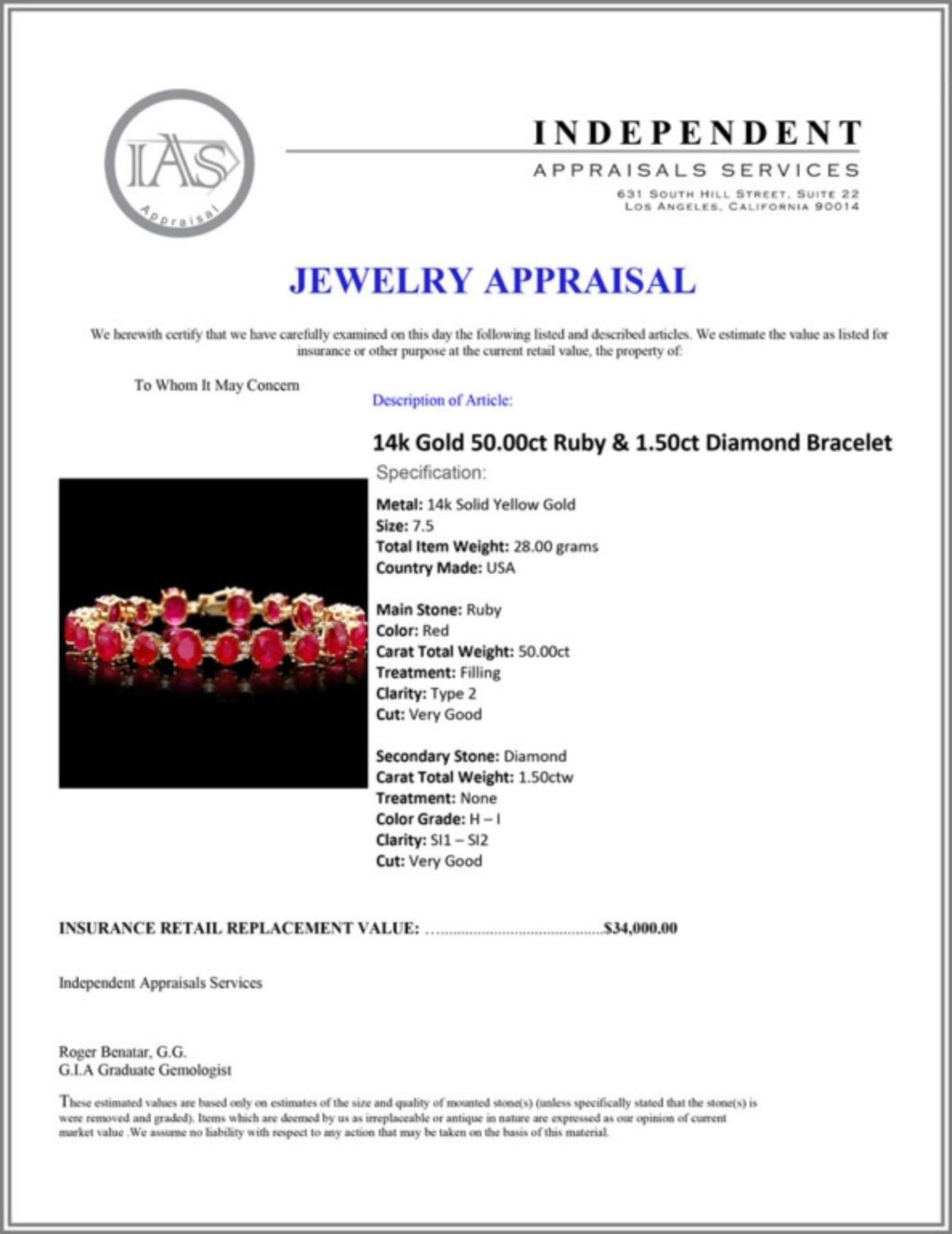 `14k Gold 50.00ct Ruby & 1.50ct Diamond Bracelet - Image 3 of 3