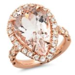 14K Gold 11.00ct Morganite & 1.75ct Diamond Ring