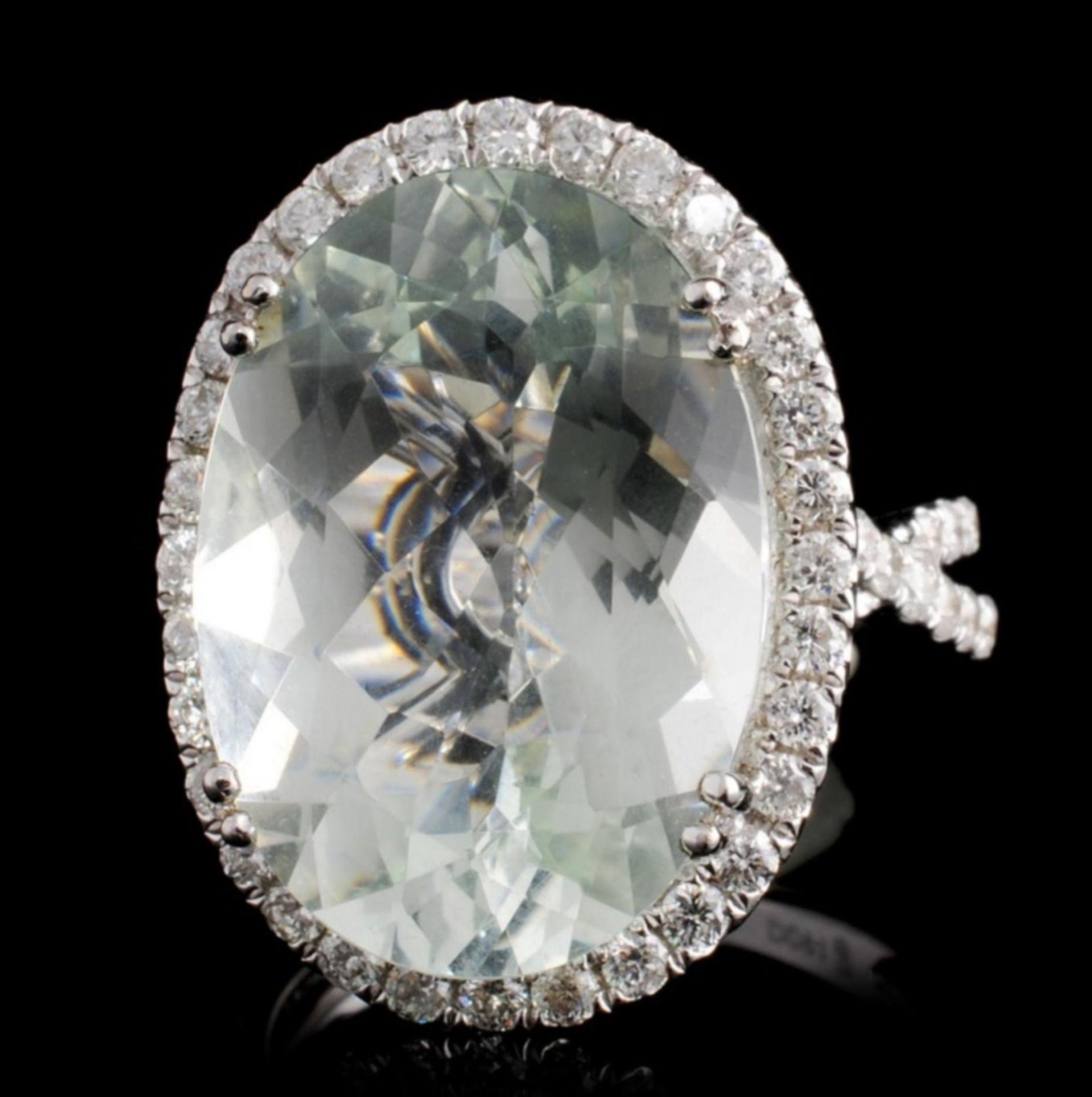 18K Gold 10.00ct Aquamarine & 0.91ct Diamond Ring - Image 2 of 4