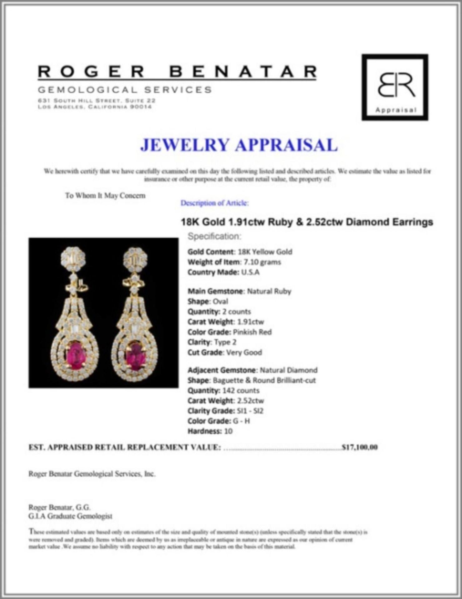 18K Gold 1.91ctw Ruby & 2.52ctw Diamond Earrings - Image 3 of 3