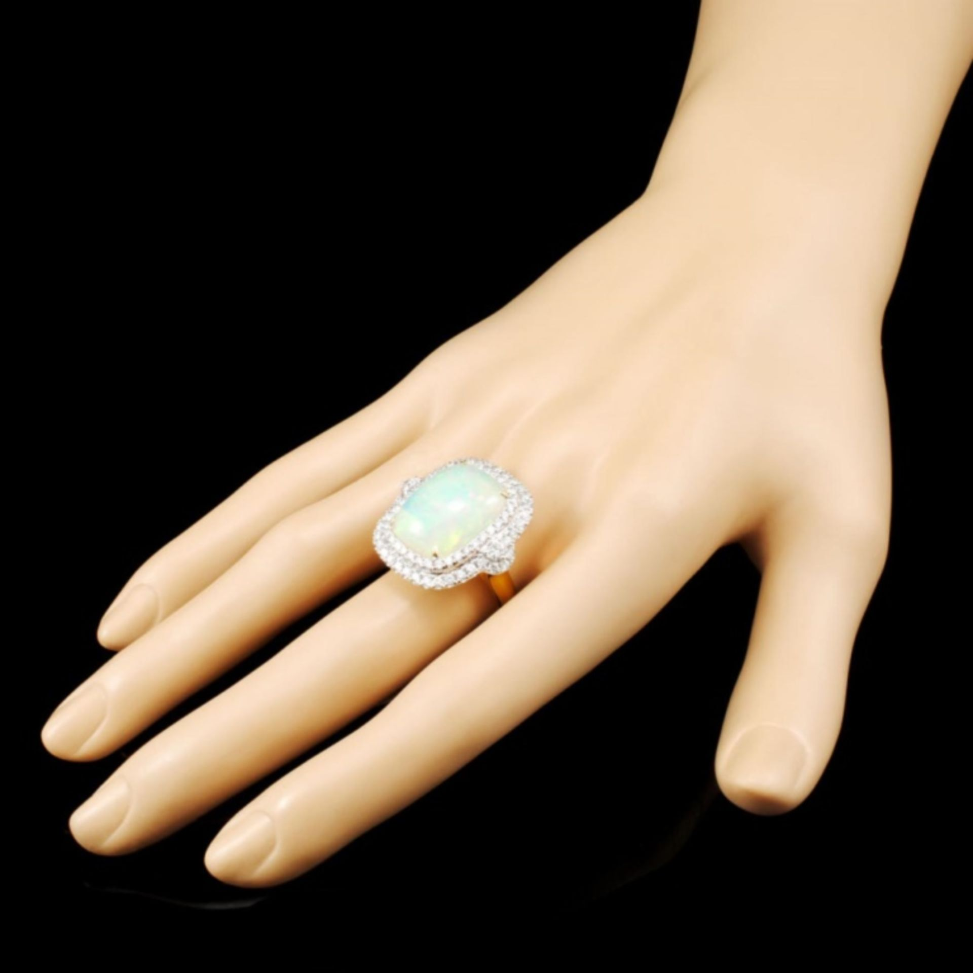 18K Gold 8.34ct Opal & 1.30ctw Diamond Ring - Image 3 of 5
