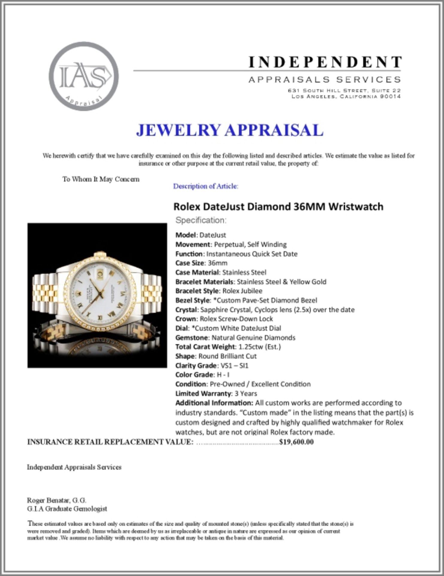 Rolex DateJust Diamond 36MM Wristwatch - Image 6 of 6