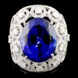 18K Gold 15.49ct Tanzanite & 2.68ctw Diamond Ring
