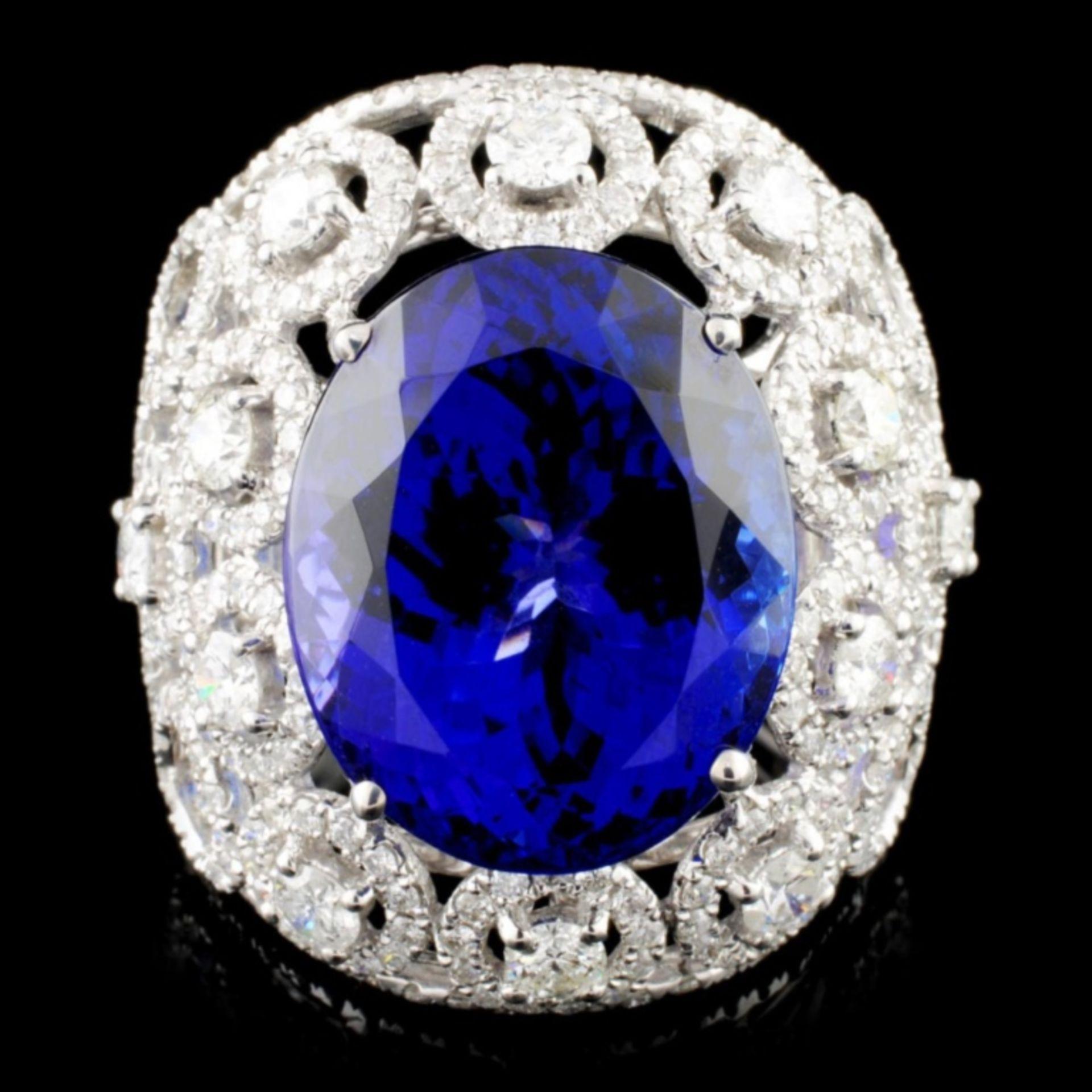 18K Gold 15.49ct Tanzanite & 2.68ctw Diamond Ring