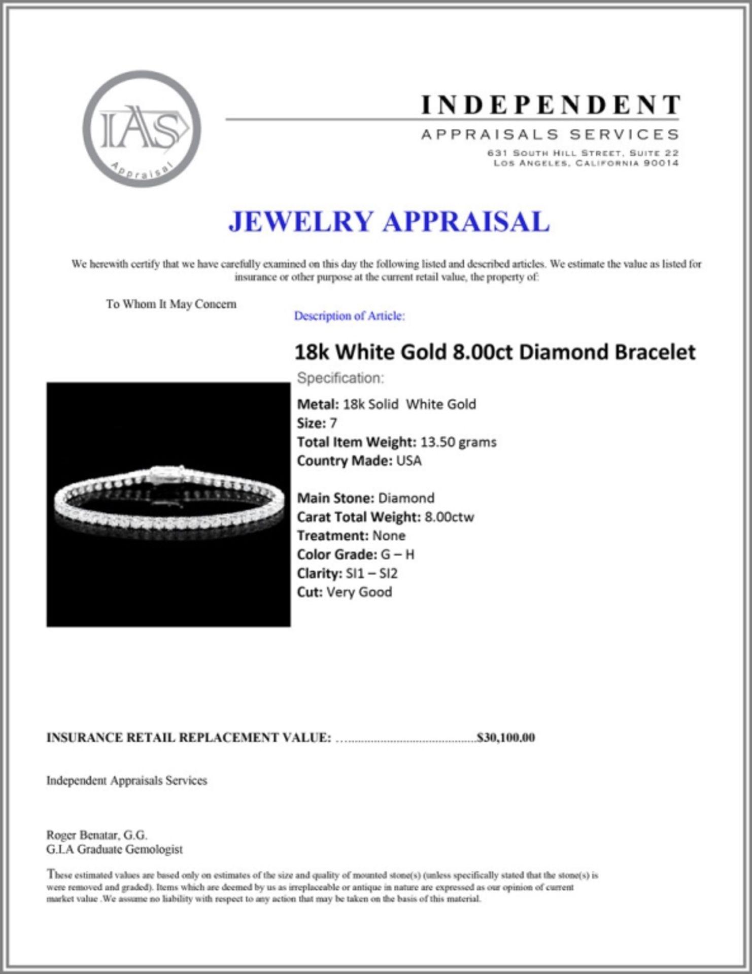 18k White Gold 8.00ct Diamond Bracelet - Image 4 of 4