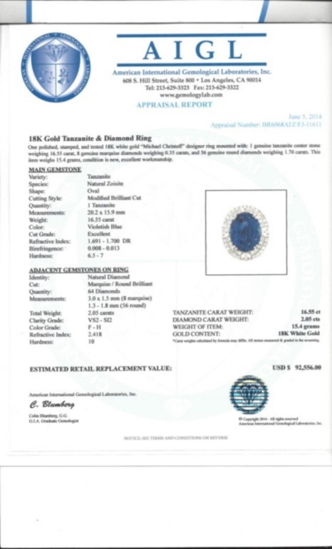 18K Gold 16.55ct Tanzanite & 2.05ct Diamond Ring - Image 4 of 4