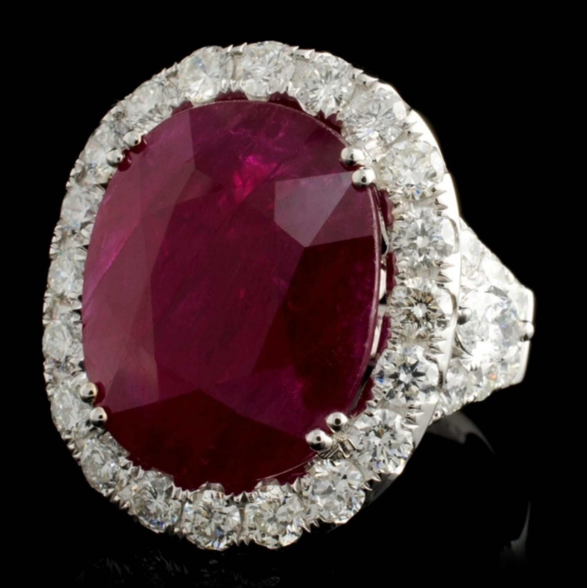 18K White Gold 15.55ct Ruby & 3.34ct Diamond Ring - Image 2 of 4