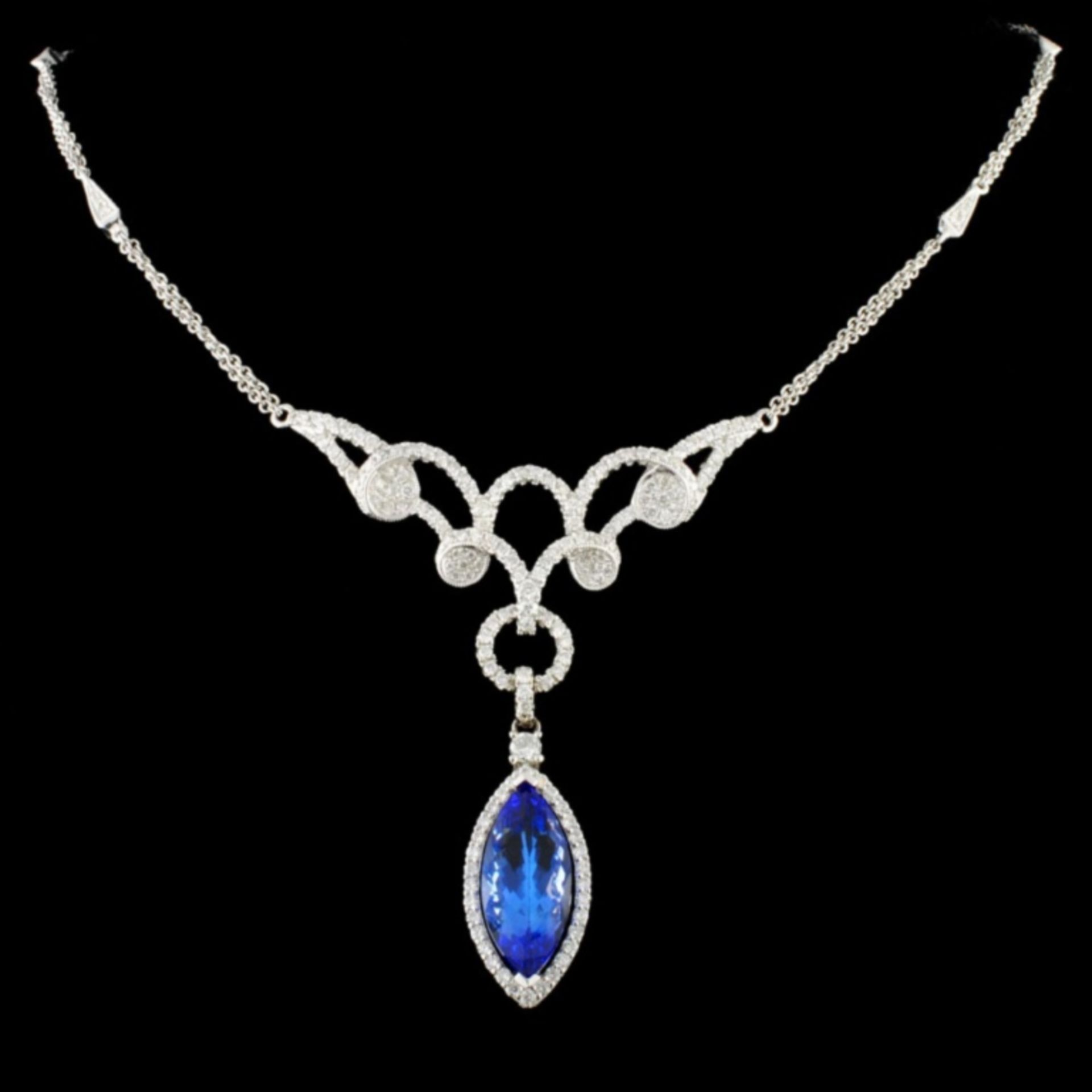 14K Gold 5.20ct Tanzanite & 1.60ctw Diamond Neckla
