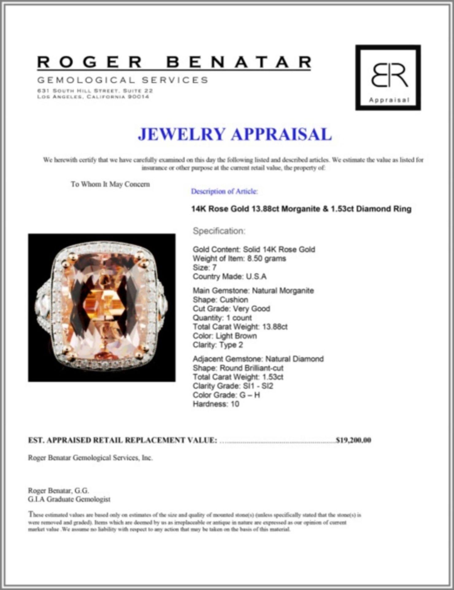 14K Rose Gold 13.88ct Morganite & 1.53ct Diamond R - Image 4 of 4