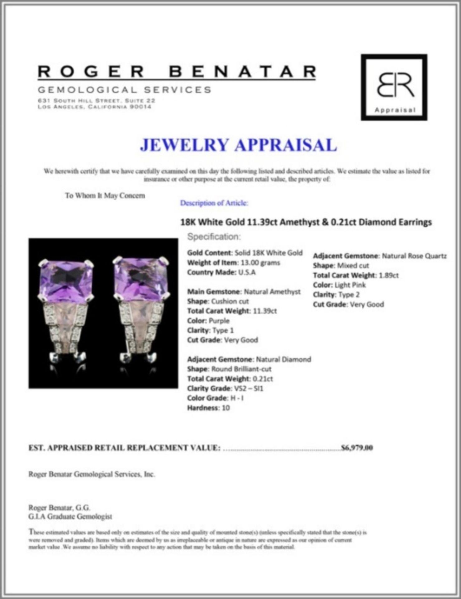 18K White Gold 11.39ct Amethyst & 0.21ct Diamond E - Image 3 of 3