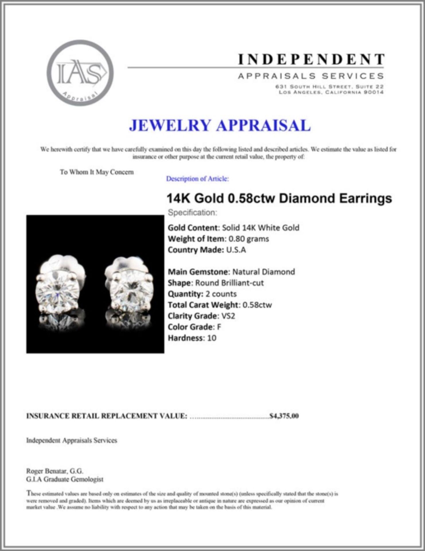 14K Gold 0.58ctw Diamond Earrings - Image 3 of 3