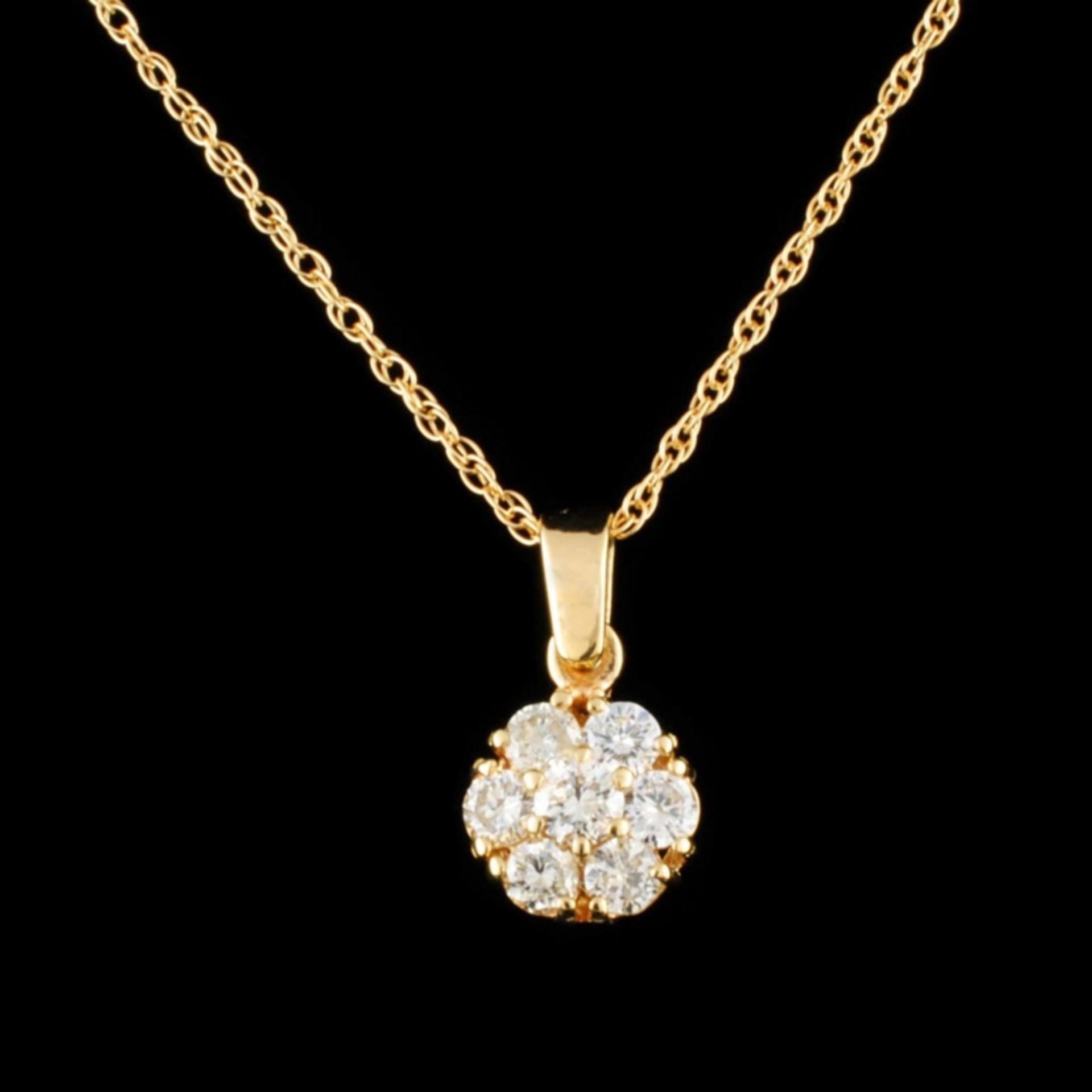 14K Gold 0.44ctw Diamond Pendant