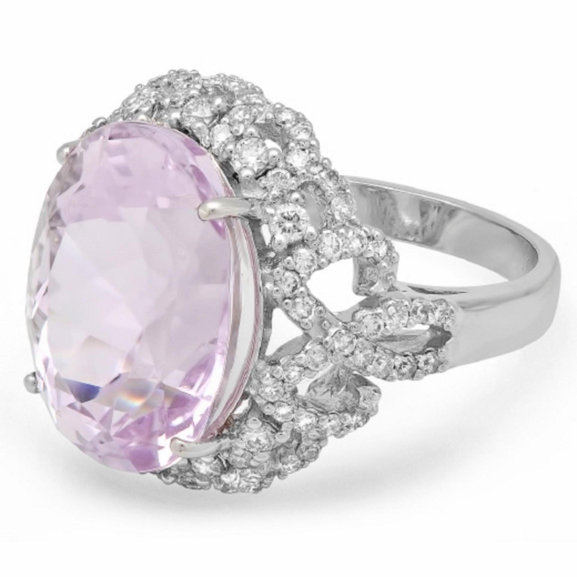 14K Gold 14.50ct Kunzite & 1.00ct Diamond Ring - Image 2 of 2