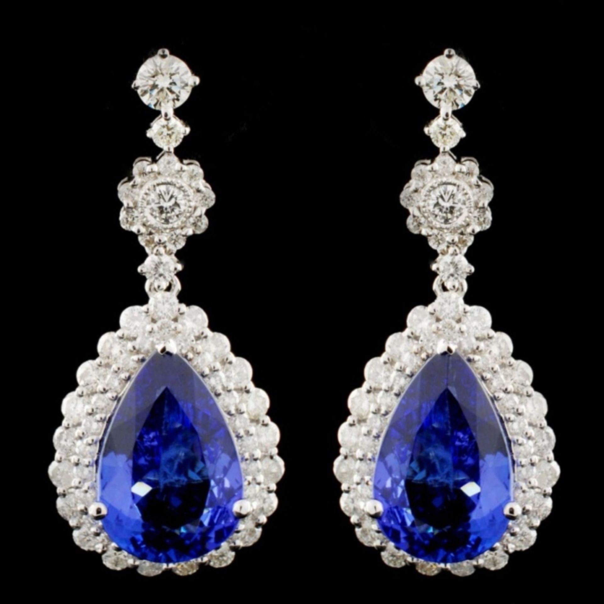 18K Gold 7.97ctw Tanzanite & 2.27ctw Diamond Earri