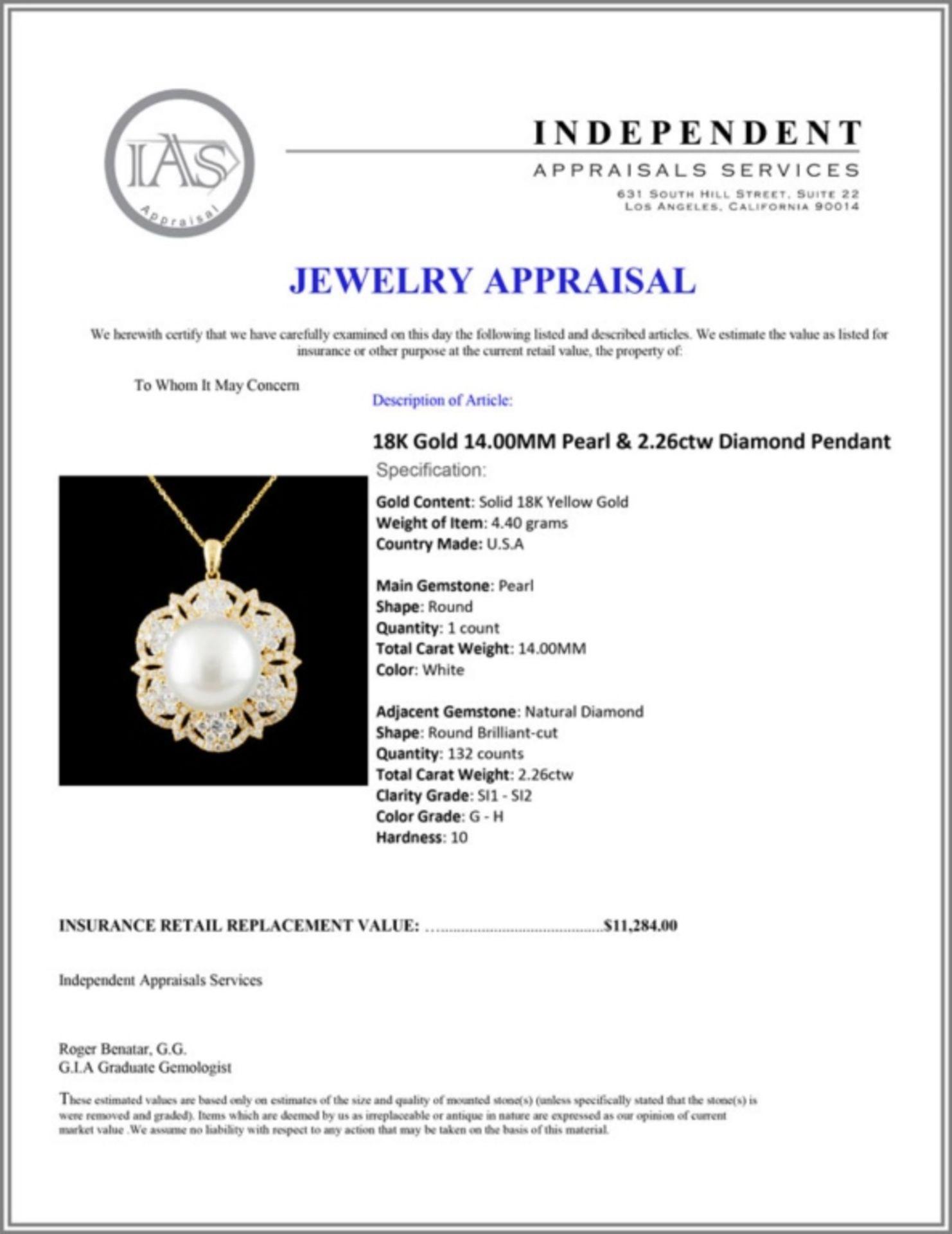 18K Gold 14.00MM Pearl & 2.26ctw Diamond Pendant - Image 4 of 4