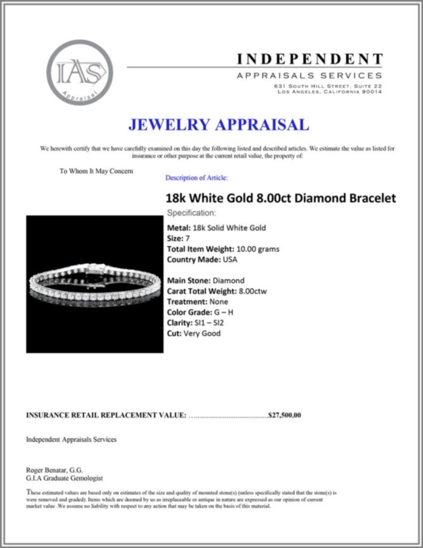 ^18k White Gold 8.00ct Diamond Bracelet - Image 4 of 4