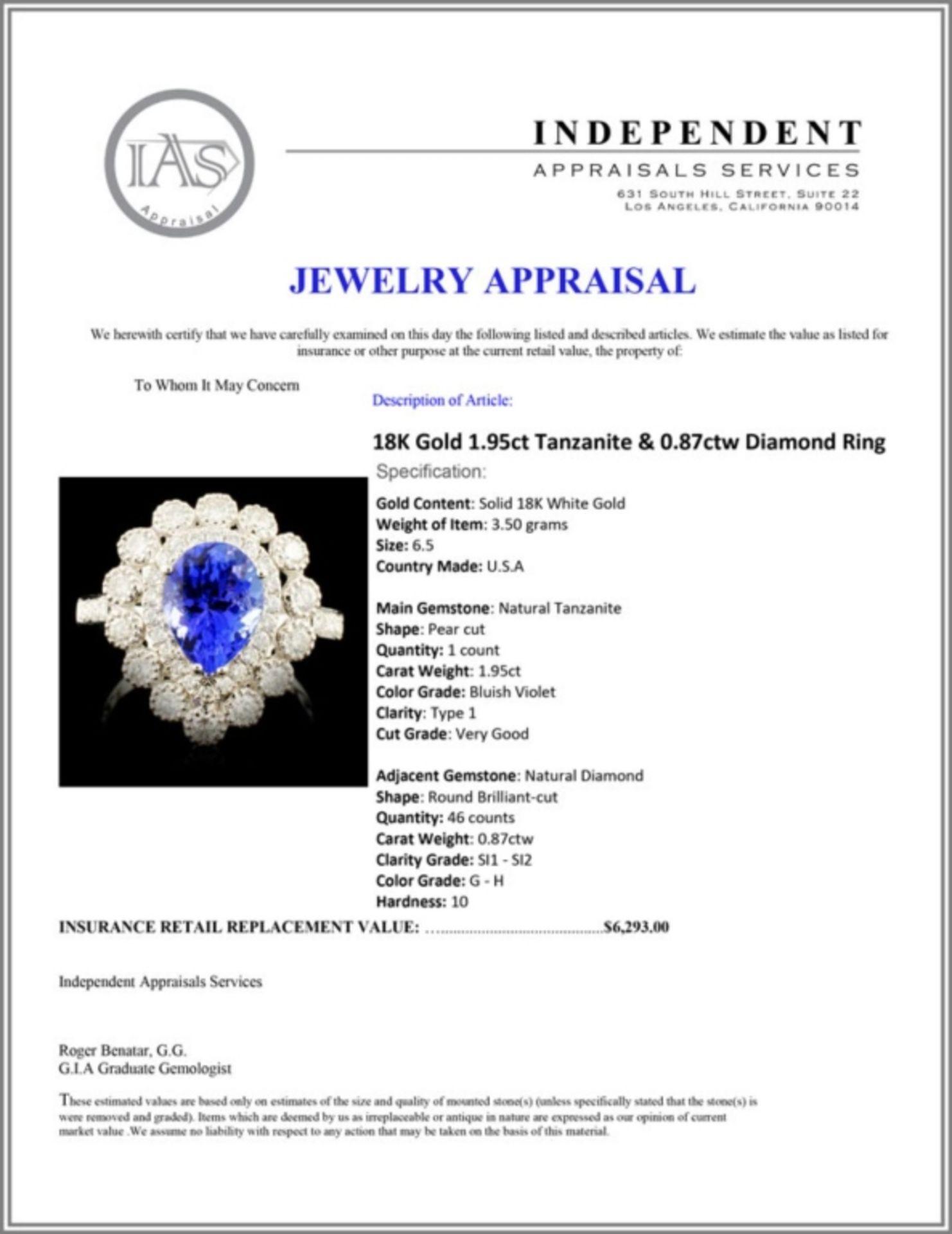 18K Gold 1.95ct Tanzanite & 0.87ctw Diamond Ring - Image 5 of 5