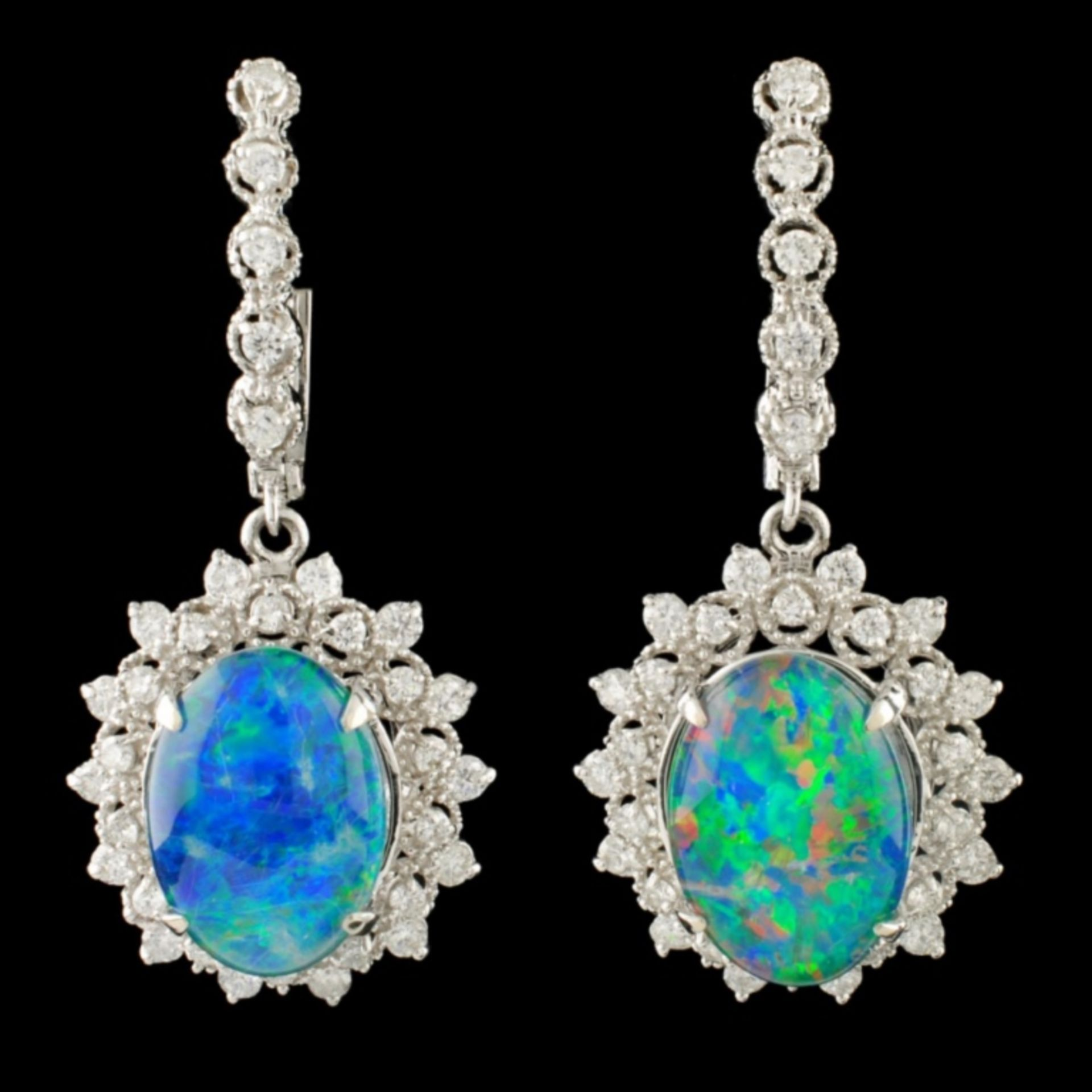 14K Gold 10.00ct Opal & 1.70ctw Diamond Earrings