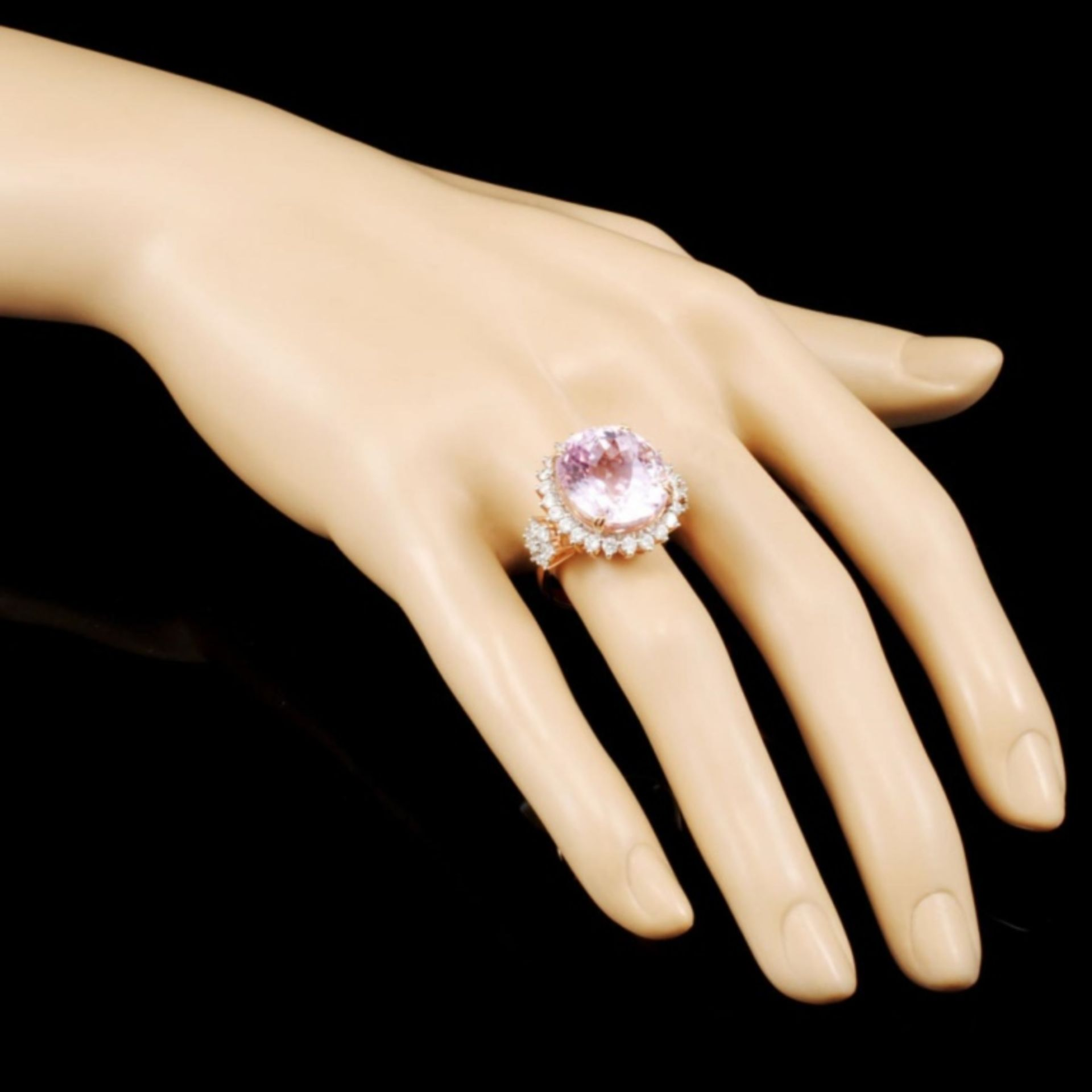14K Rose Gold 17.00ct Kunzite & 1.32ctw Diamond Ri - Image 3 of 5