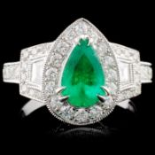 18K White Gold 0.94ct Emerald & 1.13ct Diamond Rin