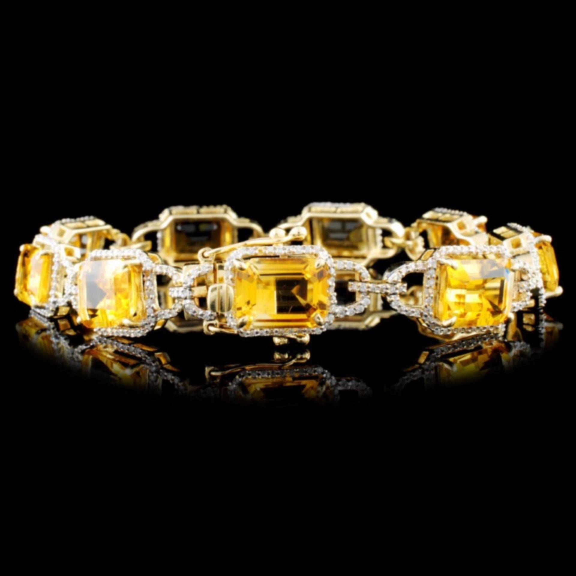 14K Gold 16.82ctw Citrine & 1.55ctw Diamond Bracel - Image 2 of 2