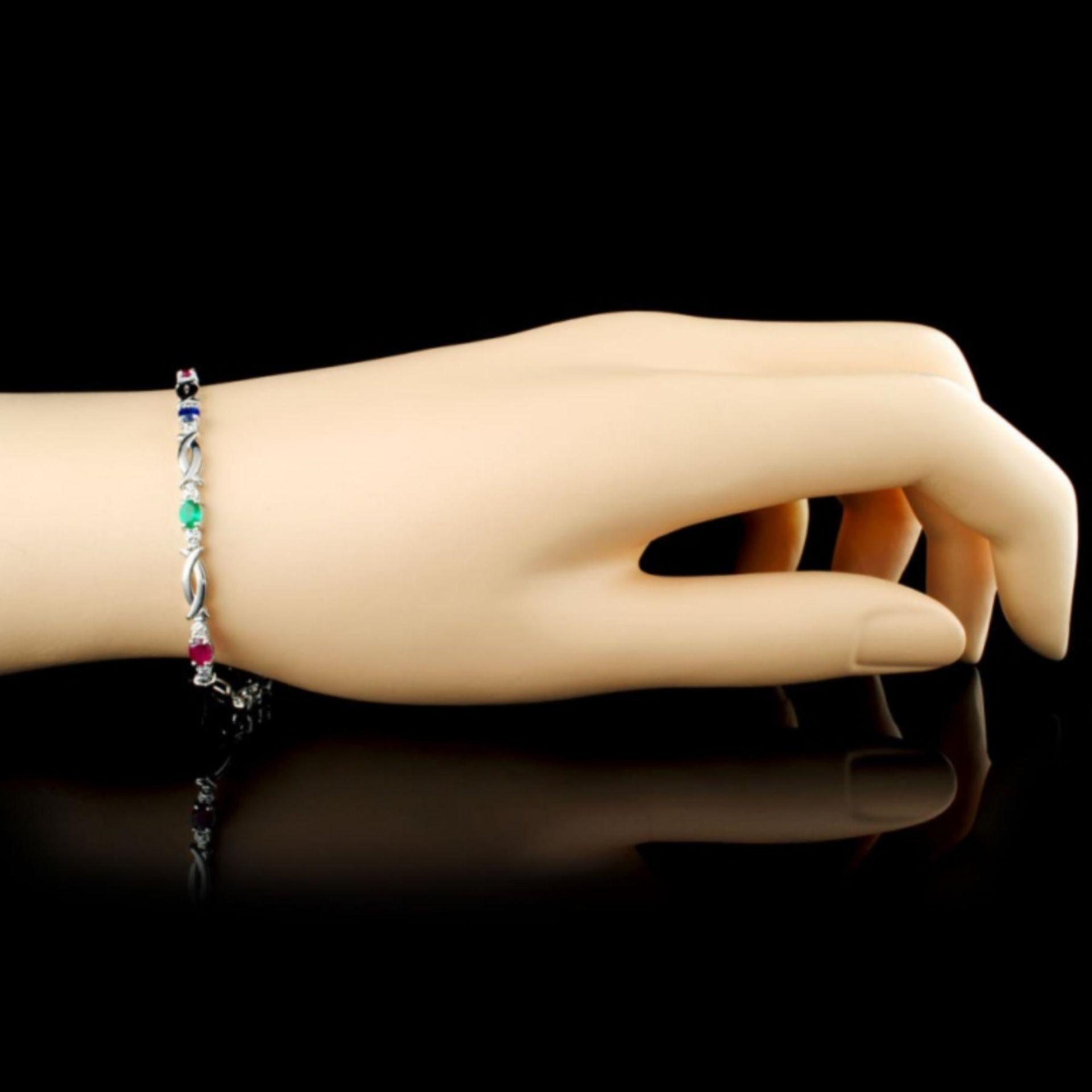 10K Gold 1.44ct Sapphire & 0.01ctw Diamond Bracele - Image 3 of 4