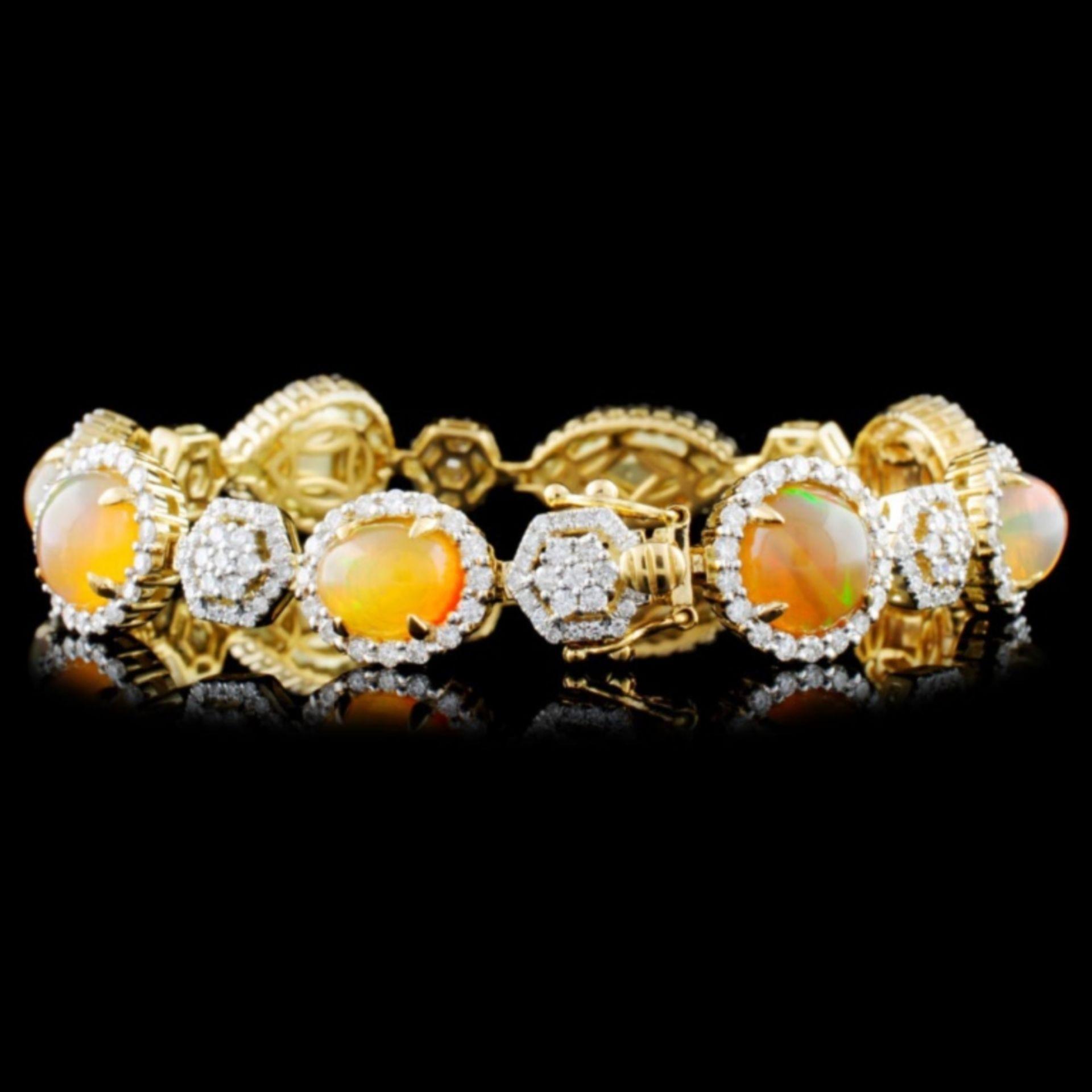 14K Gold 12.08ctw Opal & 3.08ctw Diamond Bracelet - Image 2 of 3