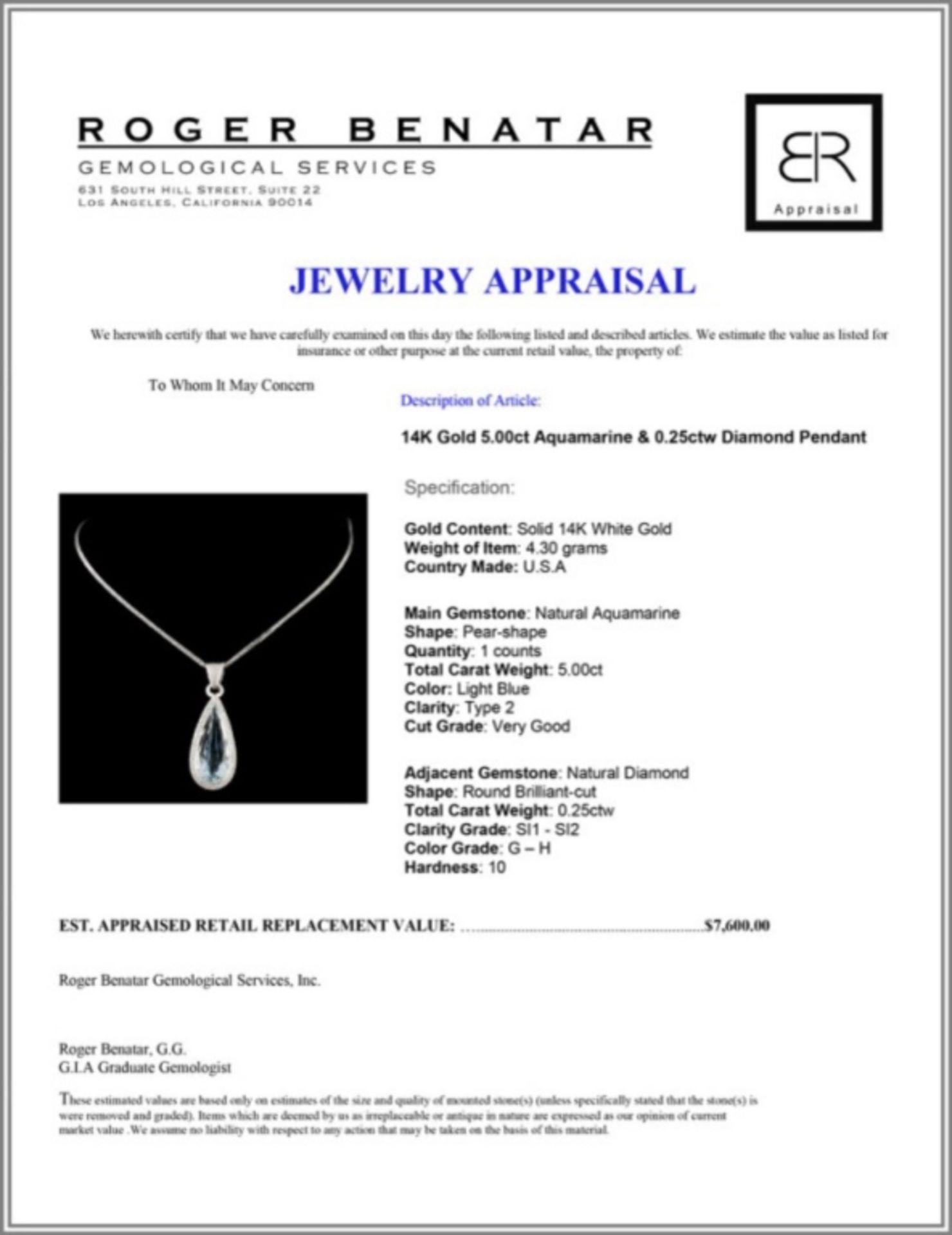14K Gold 5.00ct Aquamarine & 0.25ctw Diamond Penda - Image 3 of 3