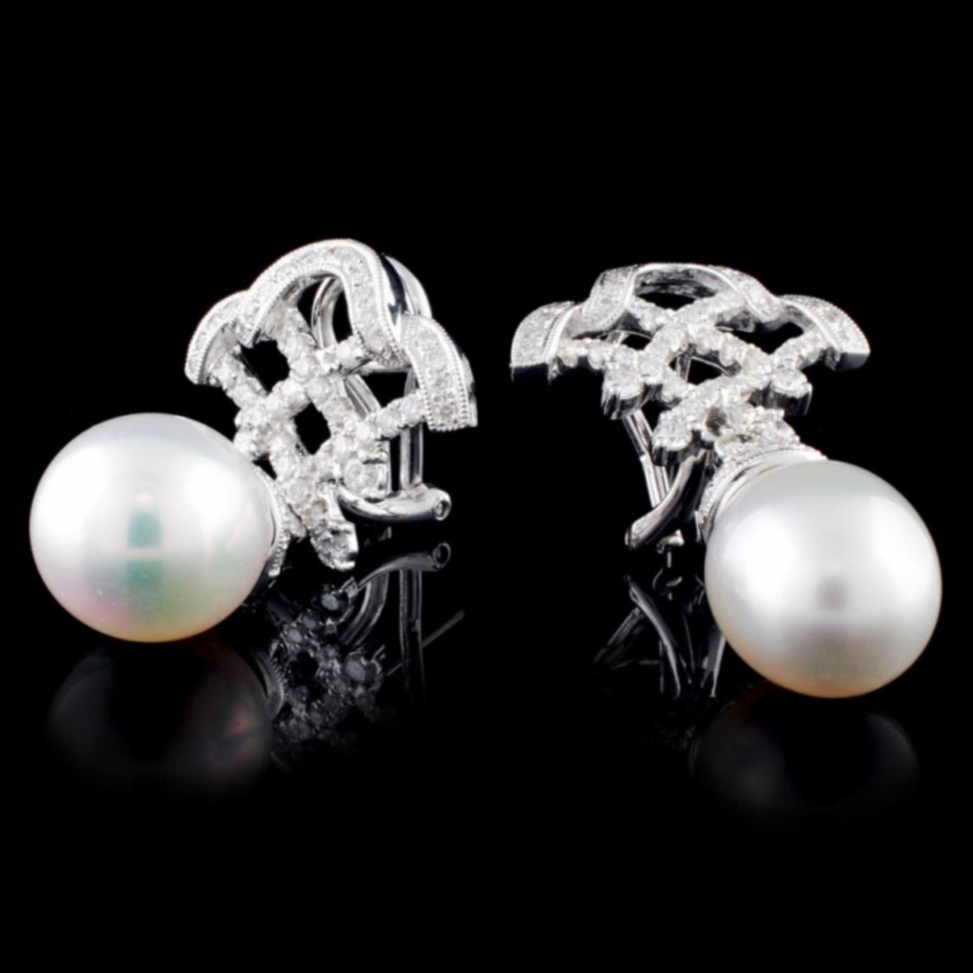 14K Gold 12.00mm Pearl & 1.12ctw Diamond Earrings - Image 2 of 2