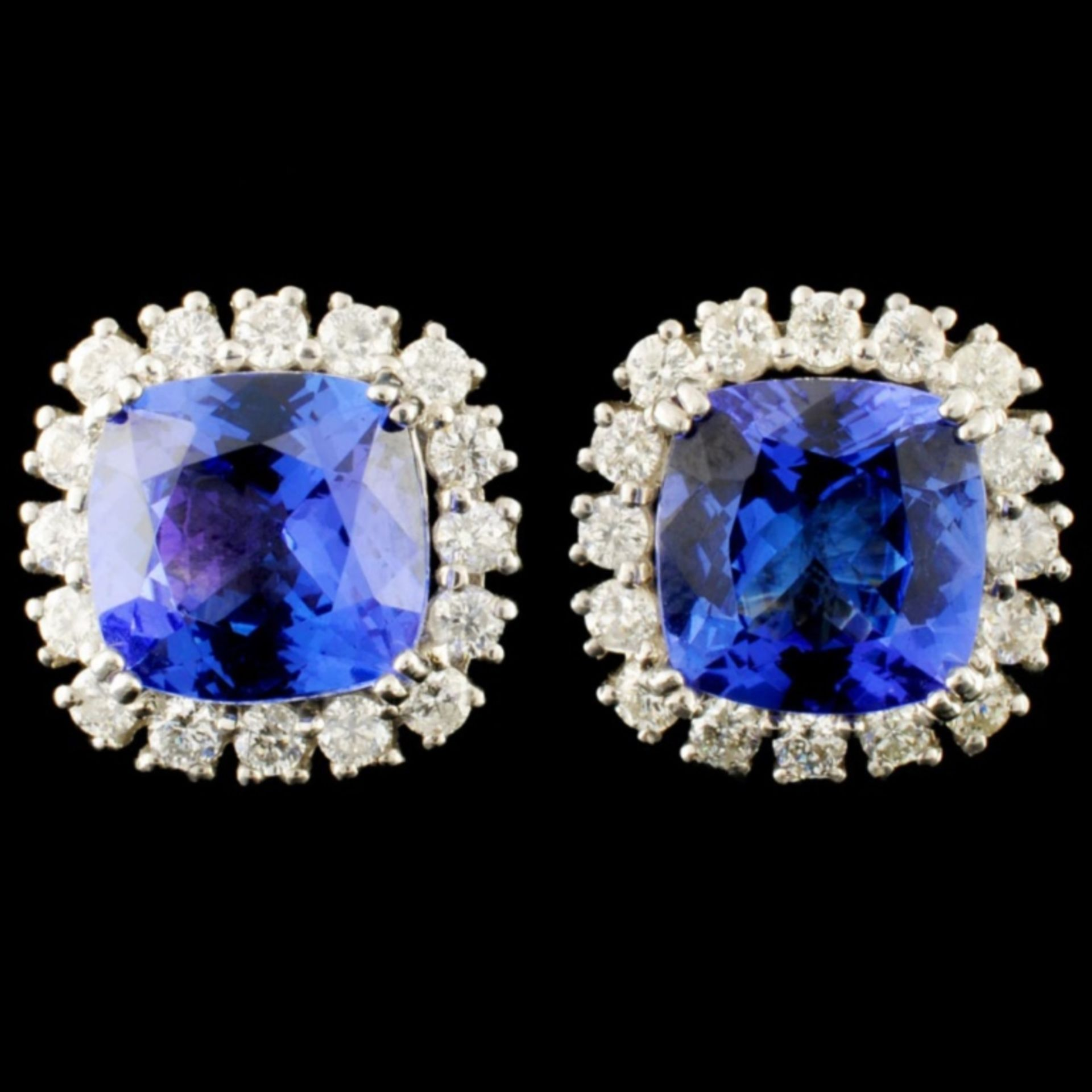 14K Gold 5.54ct Tanzanite & 1.08ctw Diamond Earrin