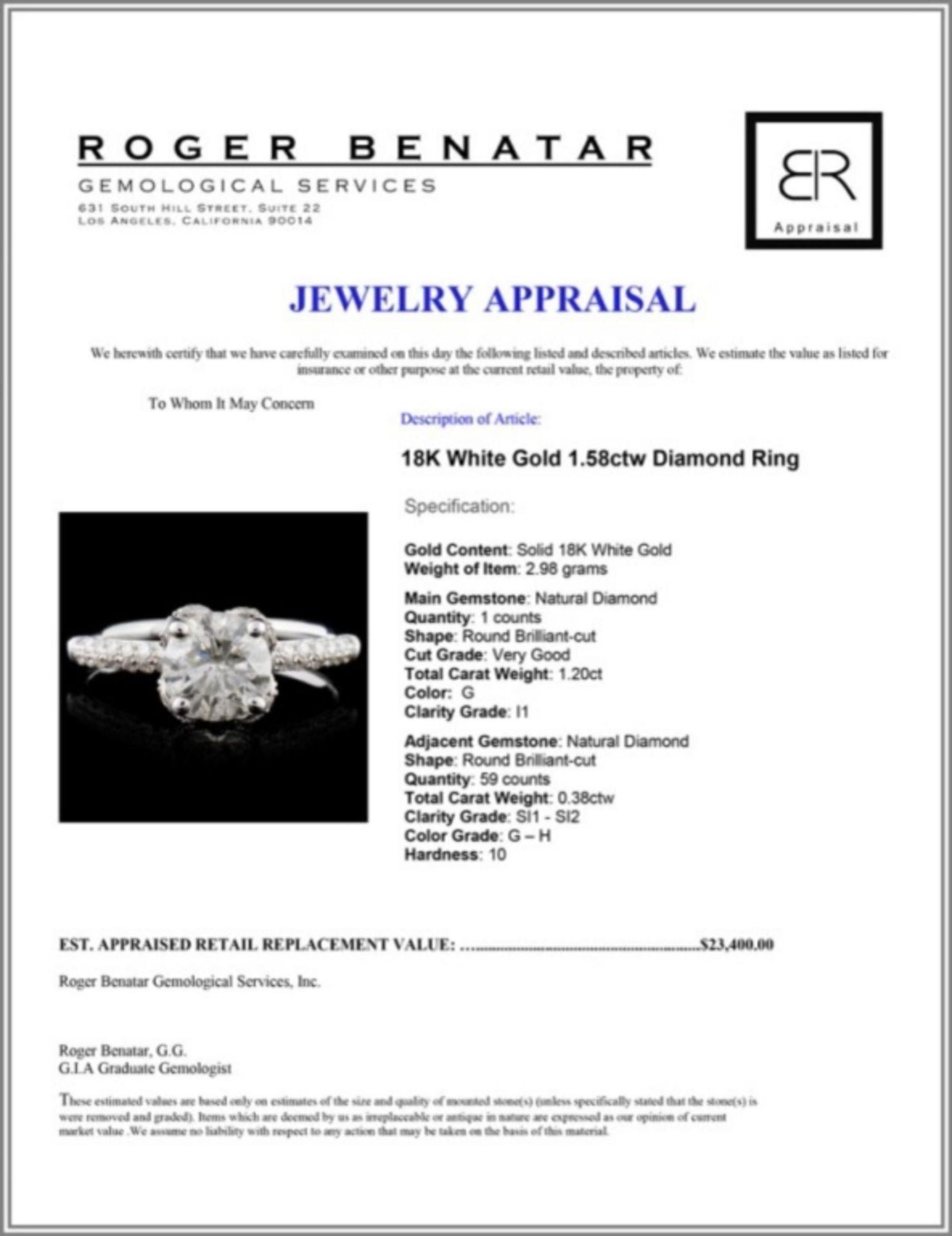 18K White Gold 1.58ctw Diamond Ring - Image 4 of 4
