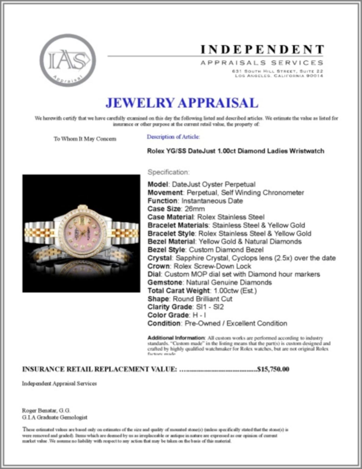 Rolex YG/SS DateJust Diamond Ladies Wristwa - Image 5 of 5
