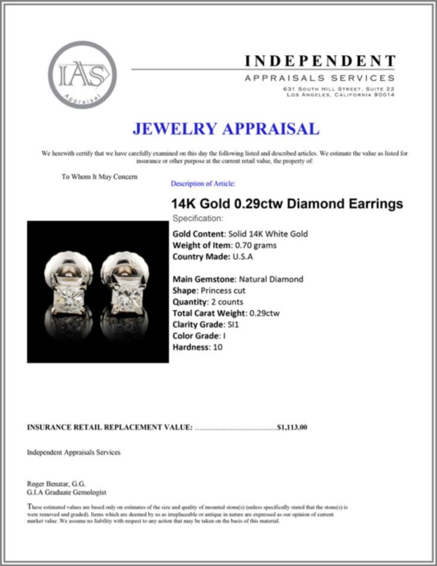 14K Gold 0.29ctw Diamond Earrings - Image 3 of 3