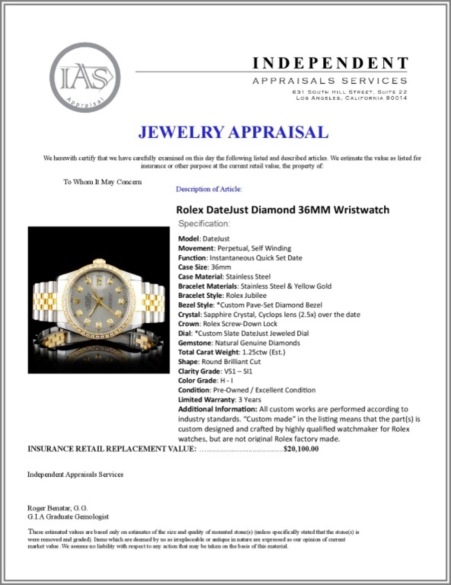 Rolex DateJust Diamond 36MM Wristwatch - Image 5 of 6