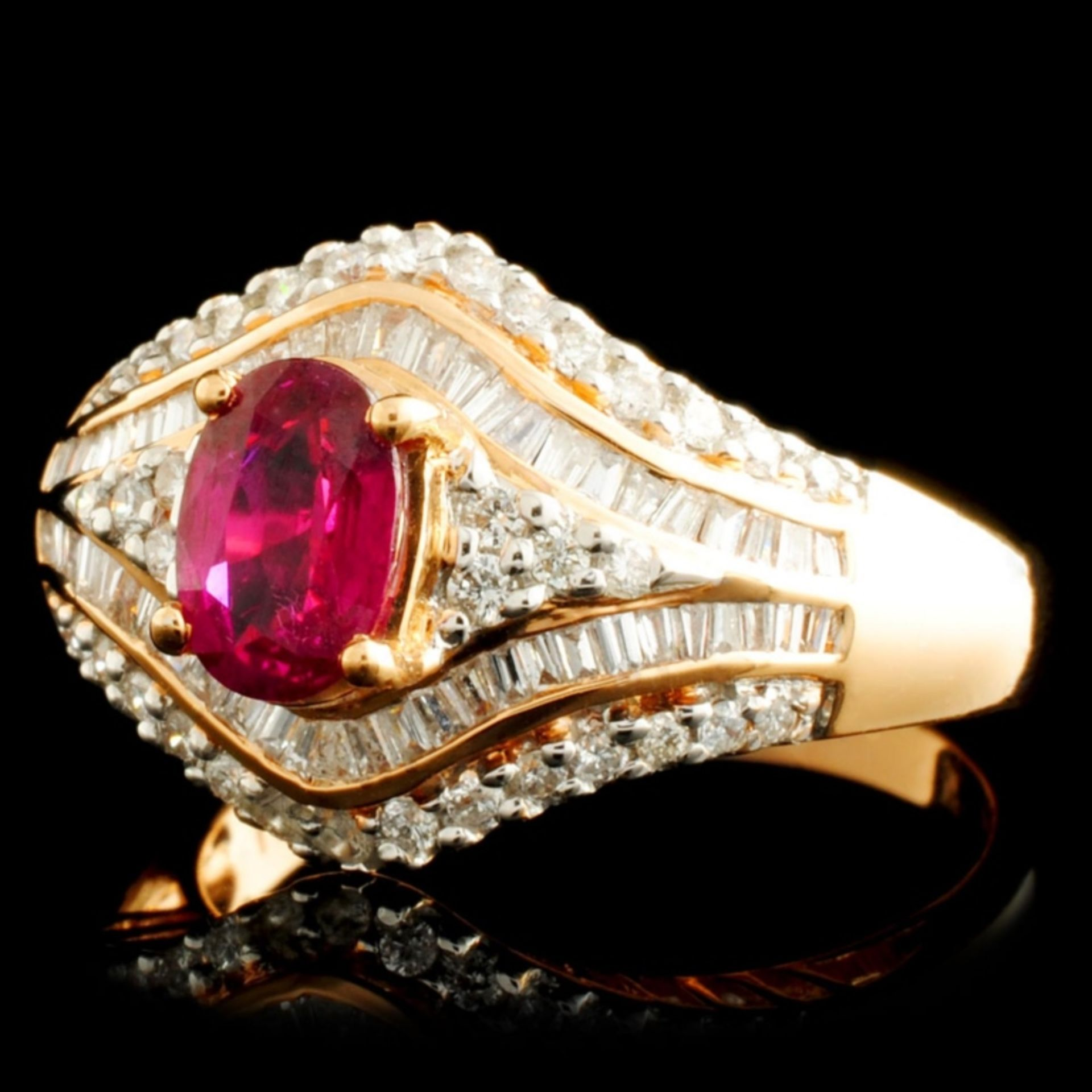 18K Gold 0.84ct Ruby & 0.60ctw Diamond Ring - Image 2 of 5