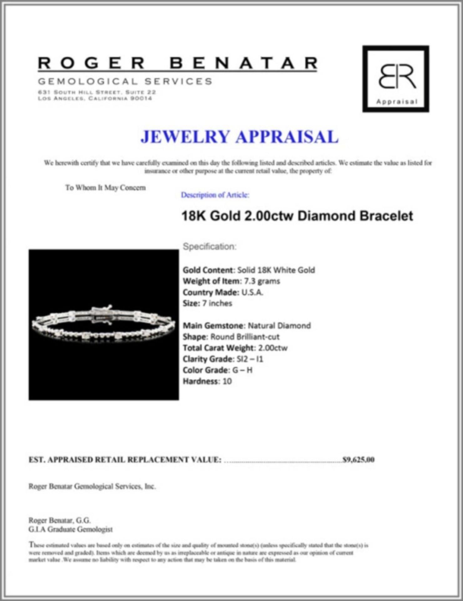 18K Gold 2.00ctw Diamond Bracelet - Image 3 of 3