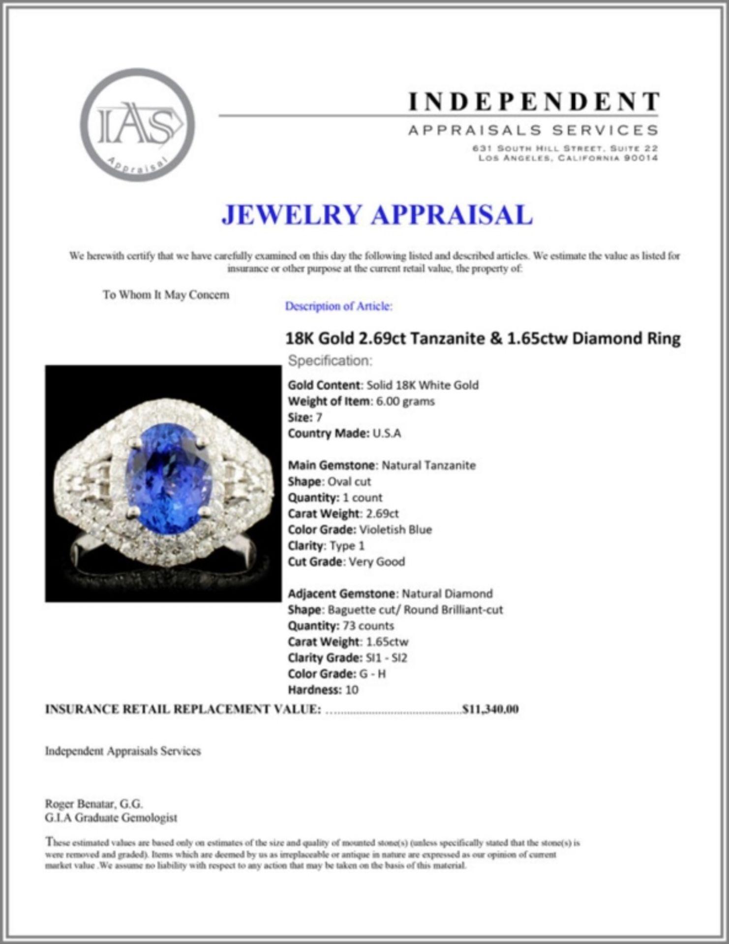 18K Gold 2.69ct Tanzanite & 1.65ctw Diamond Ring - Image 5 of 5