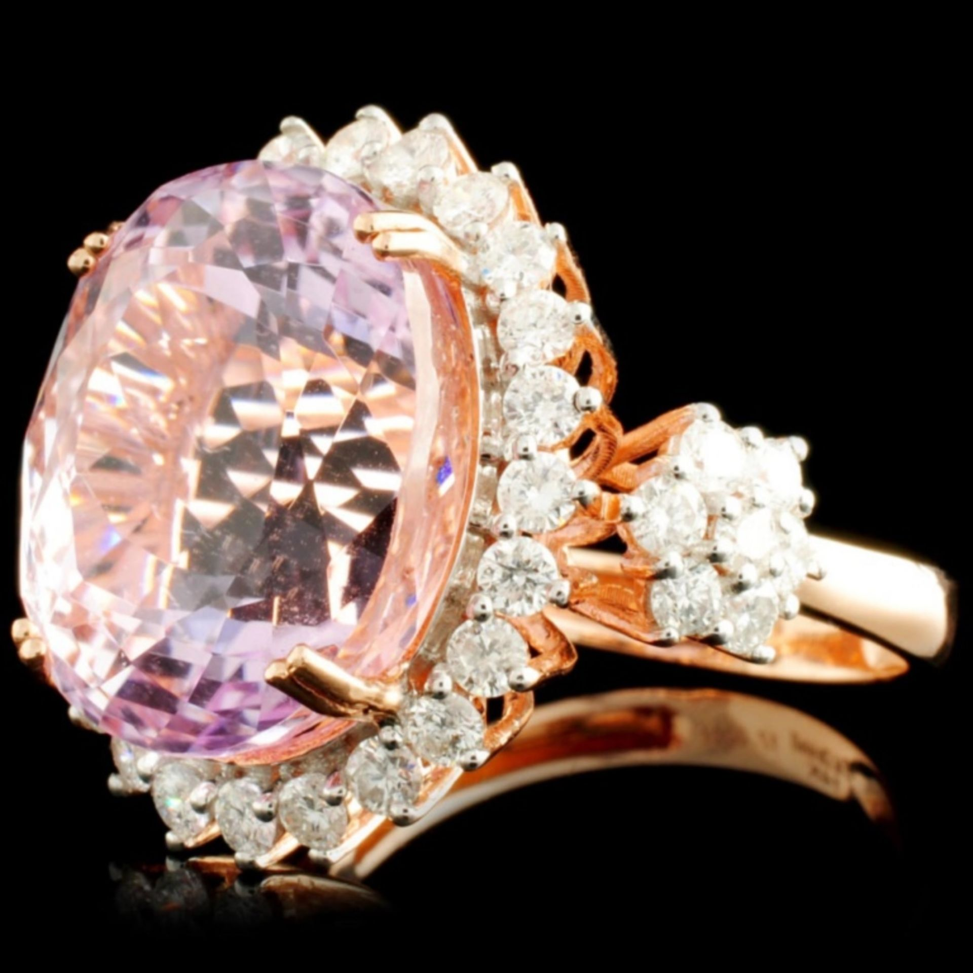 14K Rose Gold 17.00ct Kunzite & 1.32ctw Diamond Ri - Image 2 of 5
