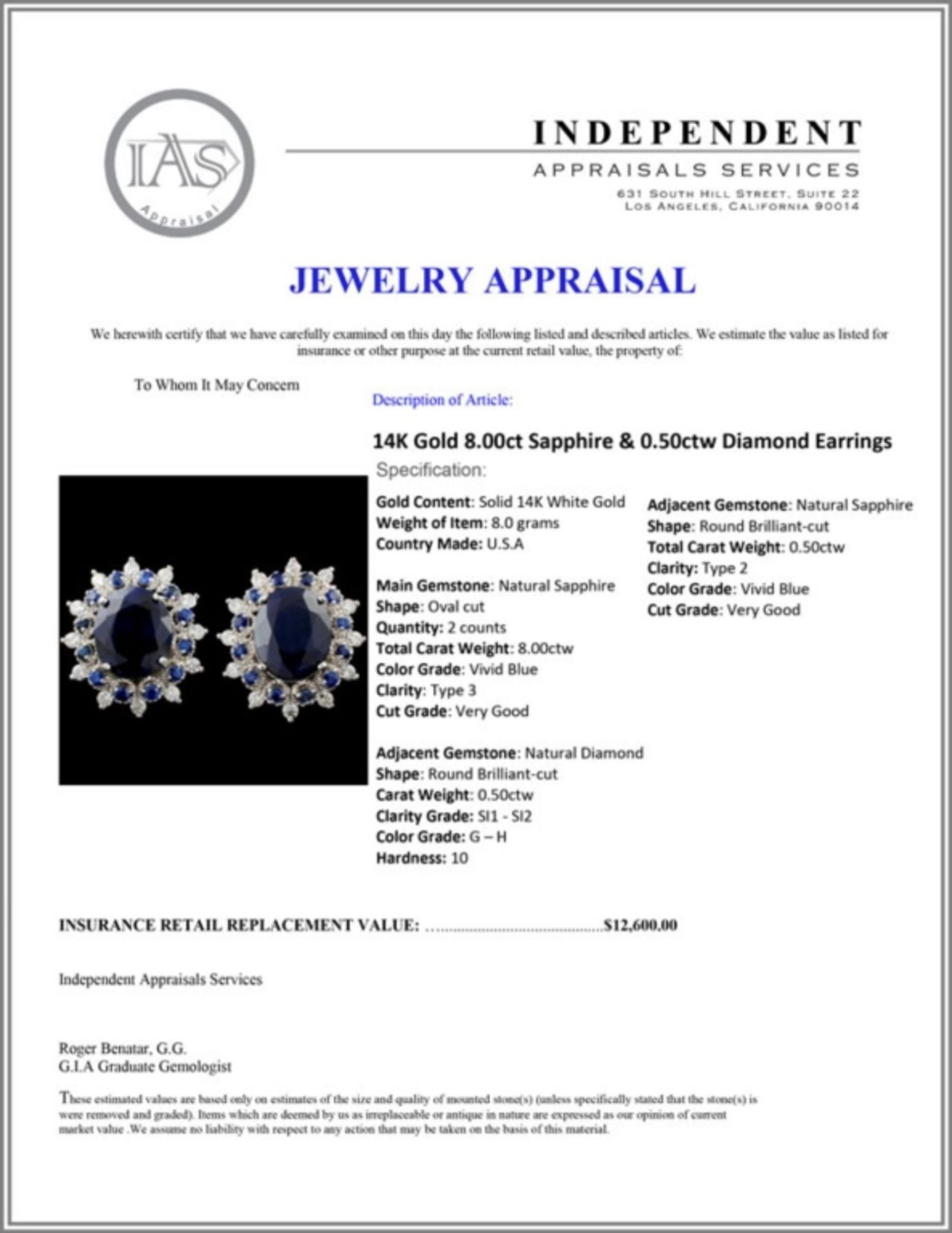 14K Gold 8.00ct Sapphire & 0.50ctw Diamond Earring - Image 3 of 3