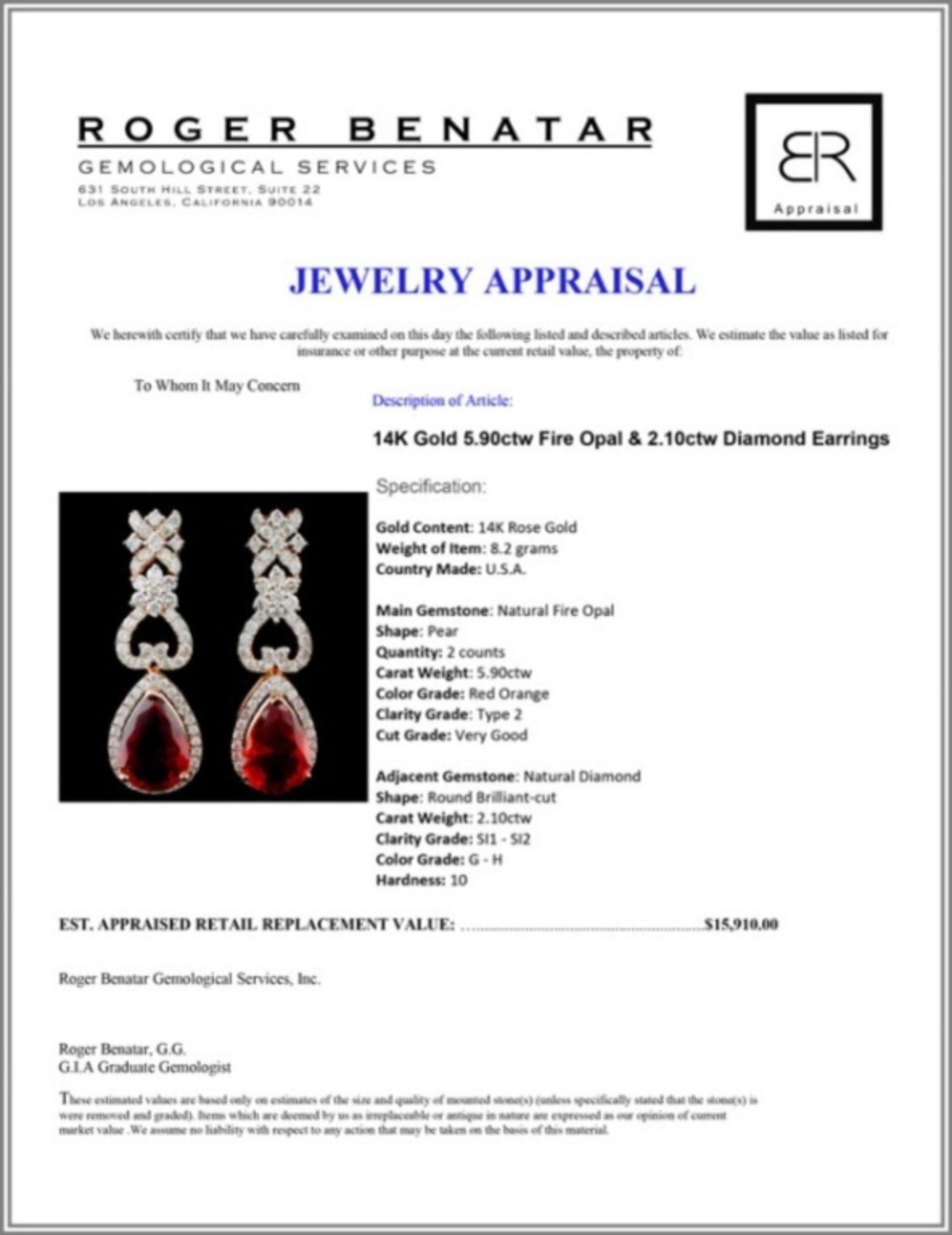 14K Gold 5.90ctw Fire Opal & 2.10ctw Diamond Earri - Image 3 of 3