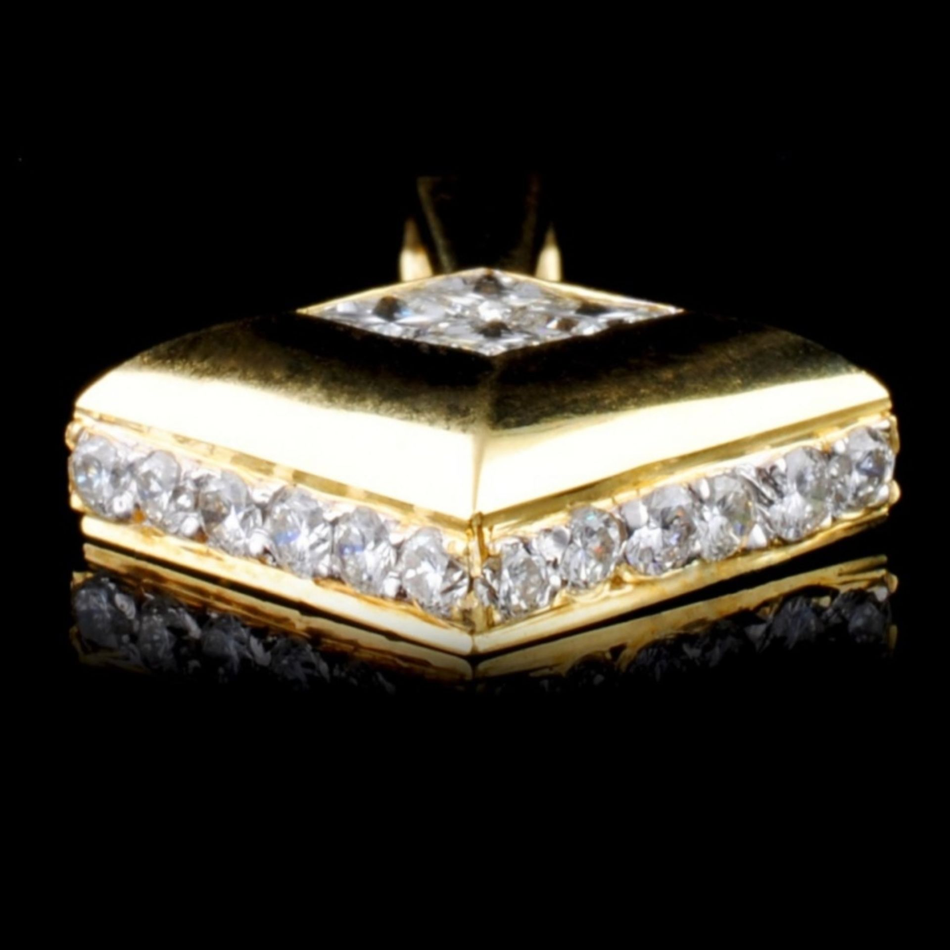 18K Yellow Gold 1.43ctw Diamond Pendant - Image 2 of 3