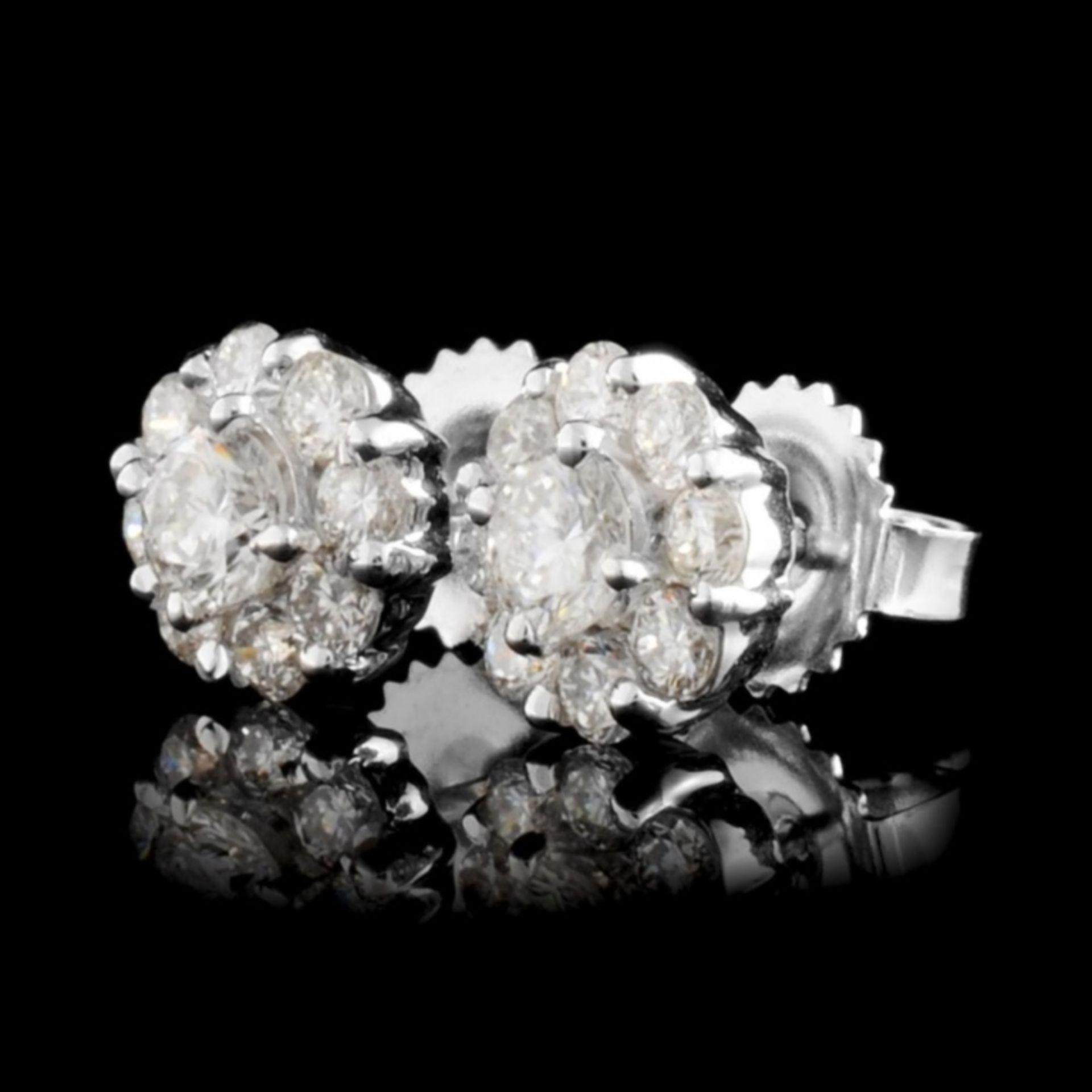 18K White Gold 1.16ctw Diamond Earrings - Image 2 of 3