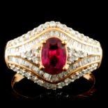 18K Gold 0.84ct Ruby & 0.60ctw Diamond Ring