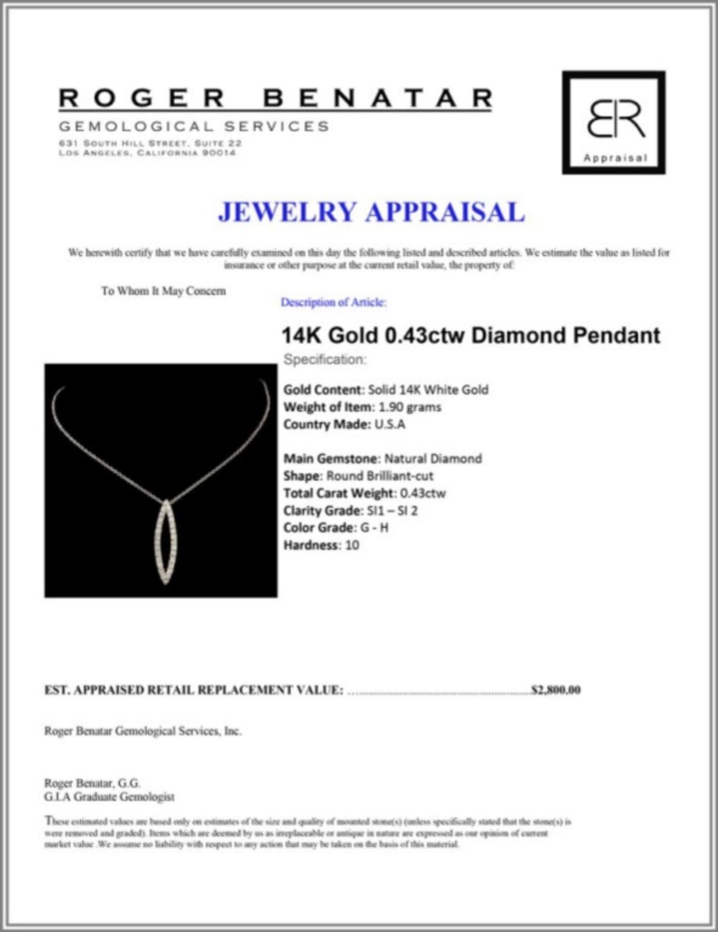 14K Gold 0.43ctw Diamond Pendant - Image 3 of 3