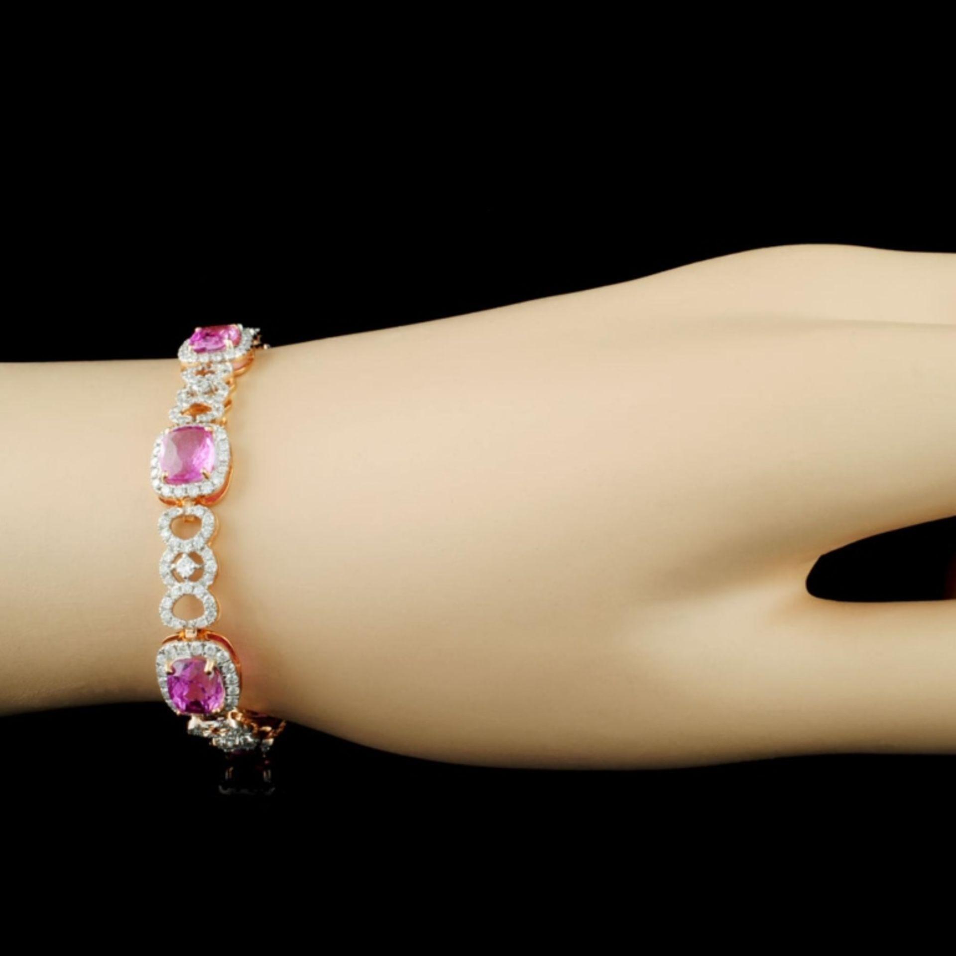 18K Gold 11.04ct Sapphire & 2.69ctw Diamond Bracel - Image 3 of 4