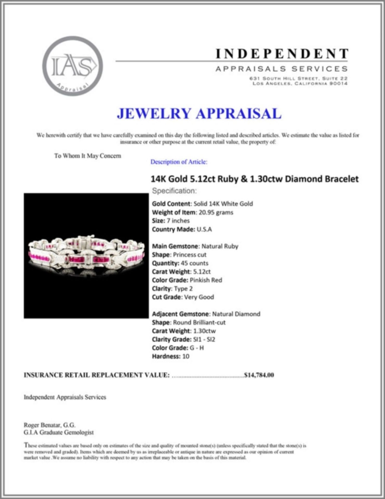 14K Gold 5.12ct Ruby & 1.30ctw Diamond Bracelet - Image 4 of 4