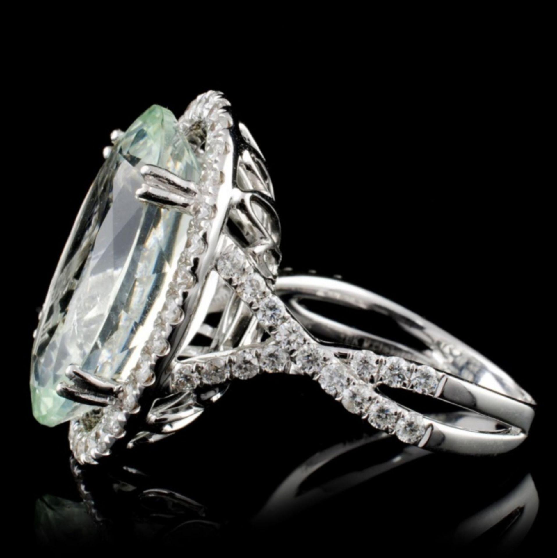18K Gold 10.00ct Aquamarine & 0.91ct Diamond Ring - Image 3 of 4