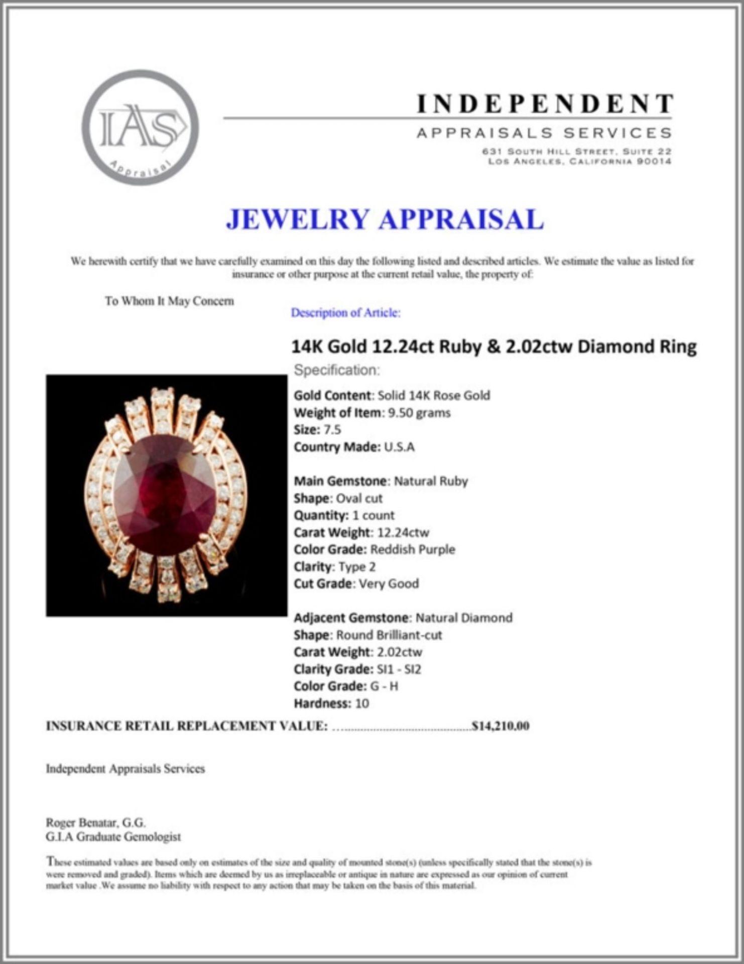 14K Gold 12.24ct Ruby & 2.02ctw Diamond Ring - Image 5 of 5