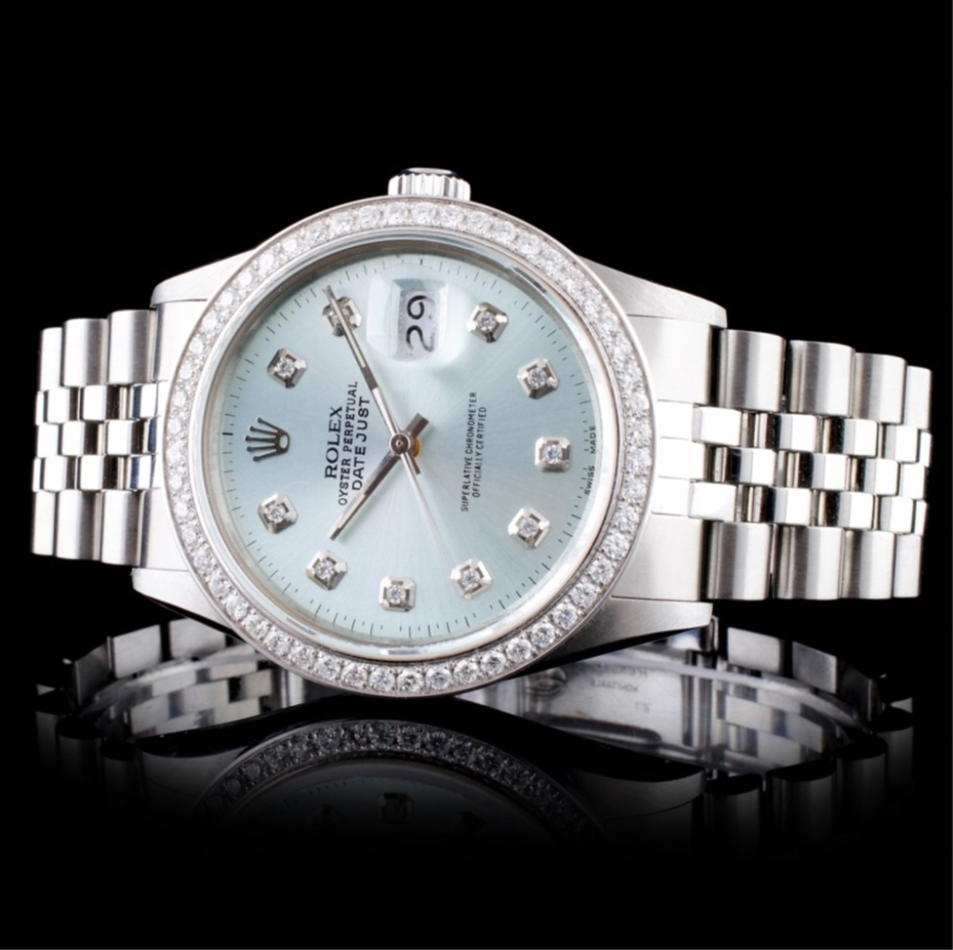Rolex SS DateJust Diamond 36mm Wristwatch - Image 3 of 6