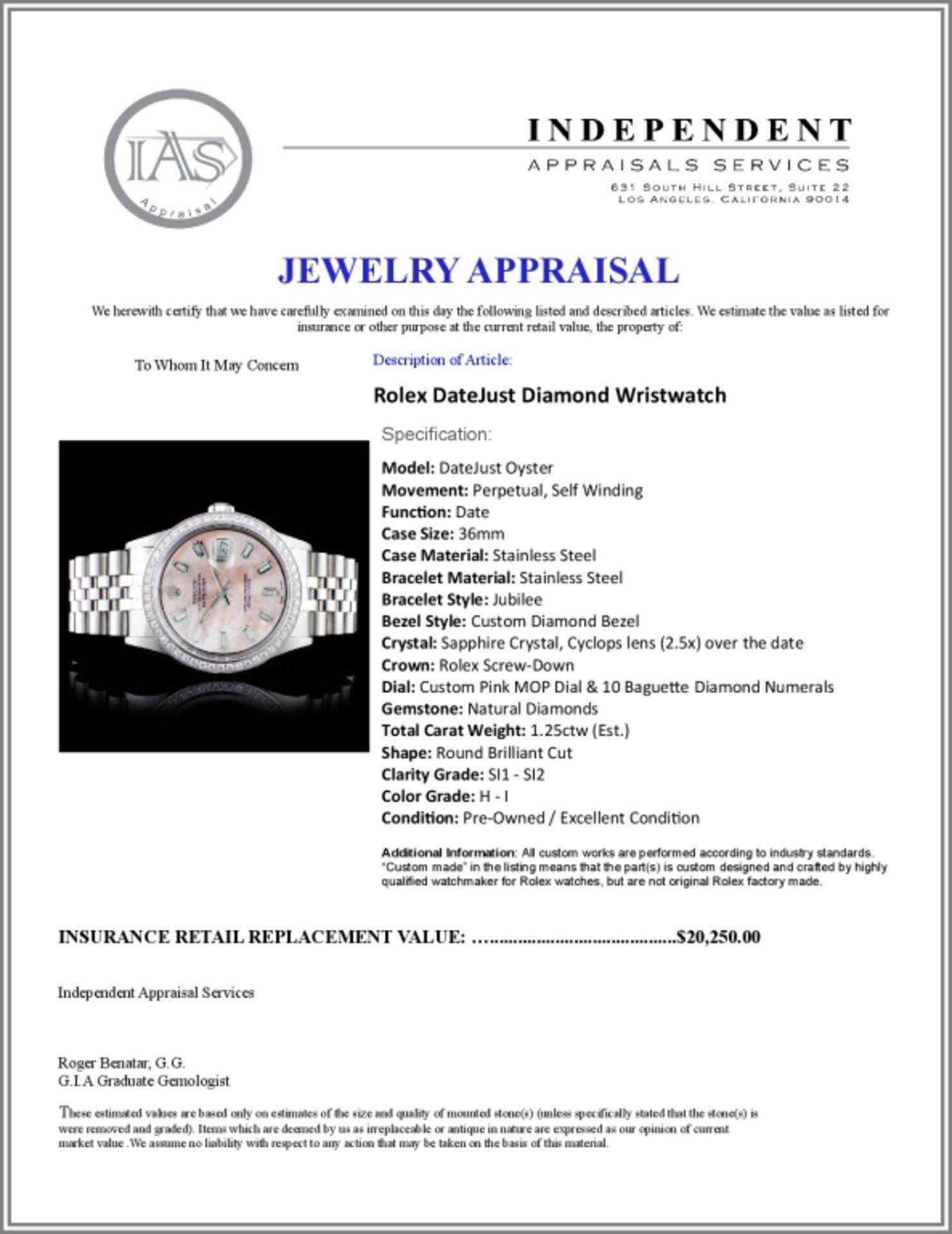 Rolex DateJust Diamond 36mm Wristwatch - Image 5 of 5